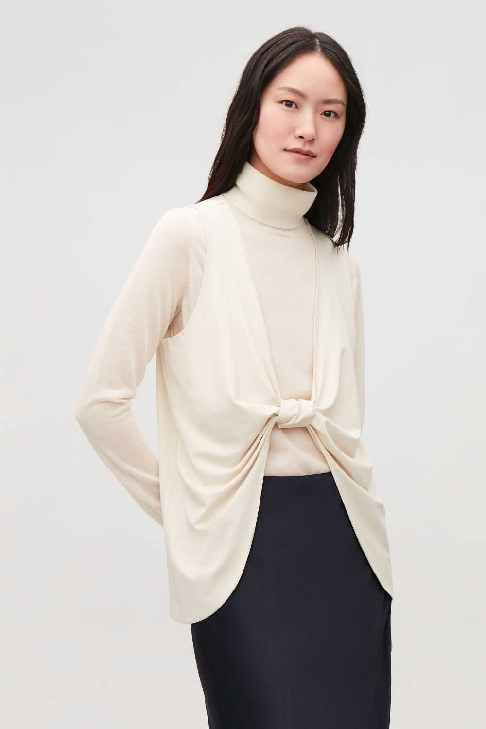 KNOT-DETAIL JERSEY TOP