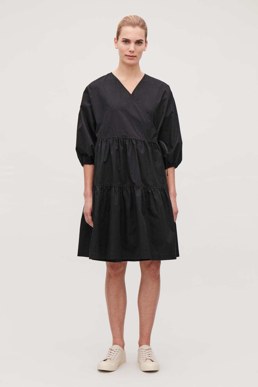 GATHERED A-LINE WRAP DRESS ... 0ea127036