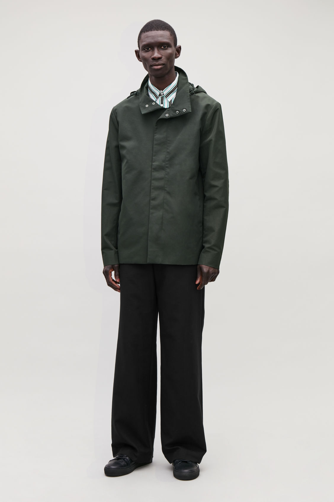 Model front image of Cos light funnel-neck jacket in green