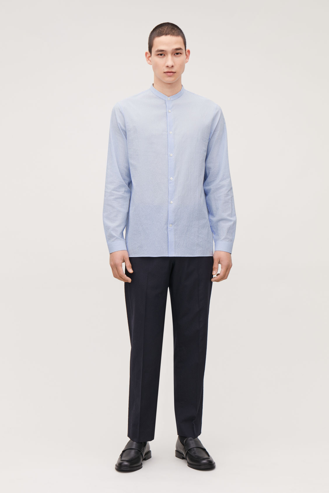 Model front image of Cos fine-striped grandad shirt in blue