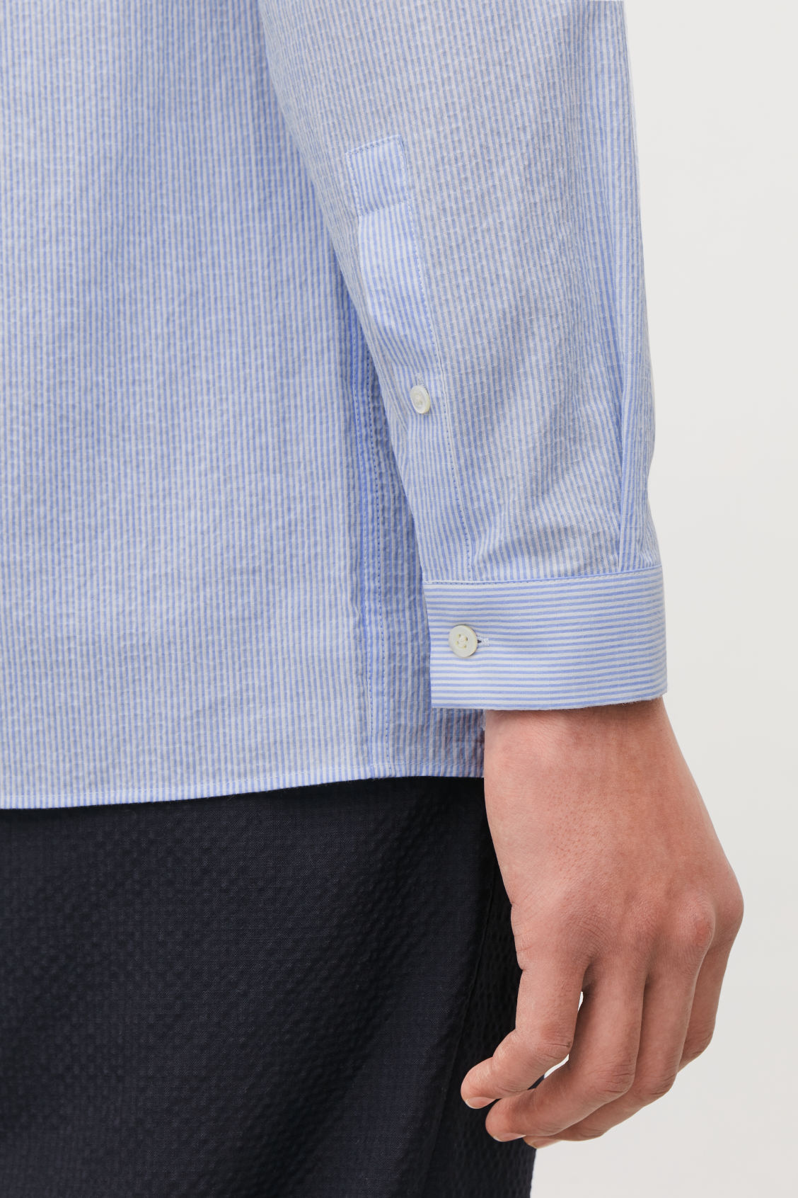 Model side image of Cos fine-striped grandad shirt in blue