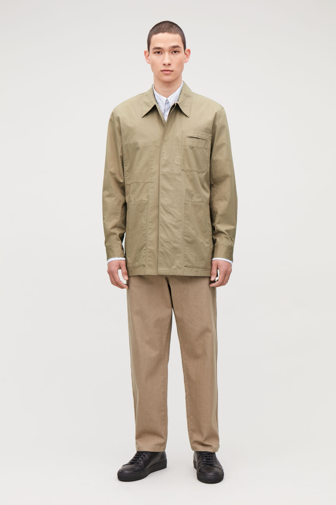 Model front image of Cos casual workwear shirt jacket in beige