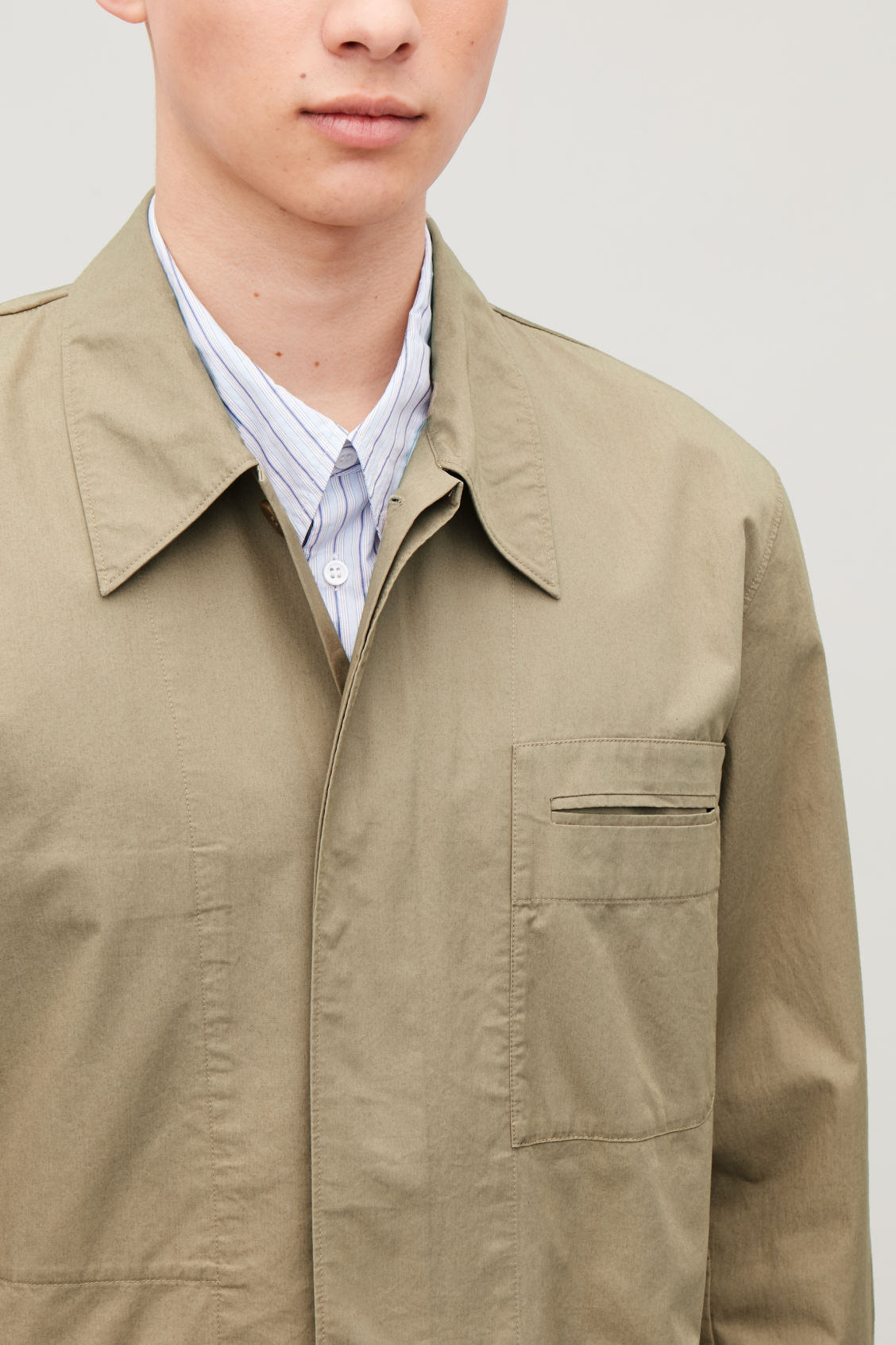 Model side image of Cos casual workwear shirt jacket in beige