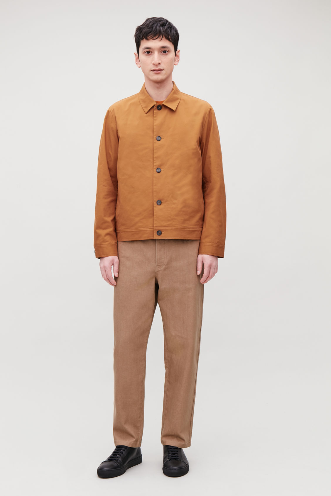 Model front image of Cos button-up shirt jacket in orange