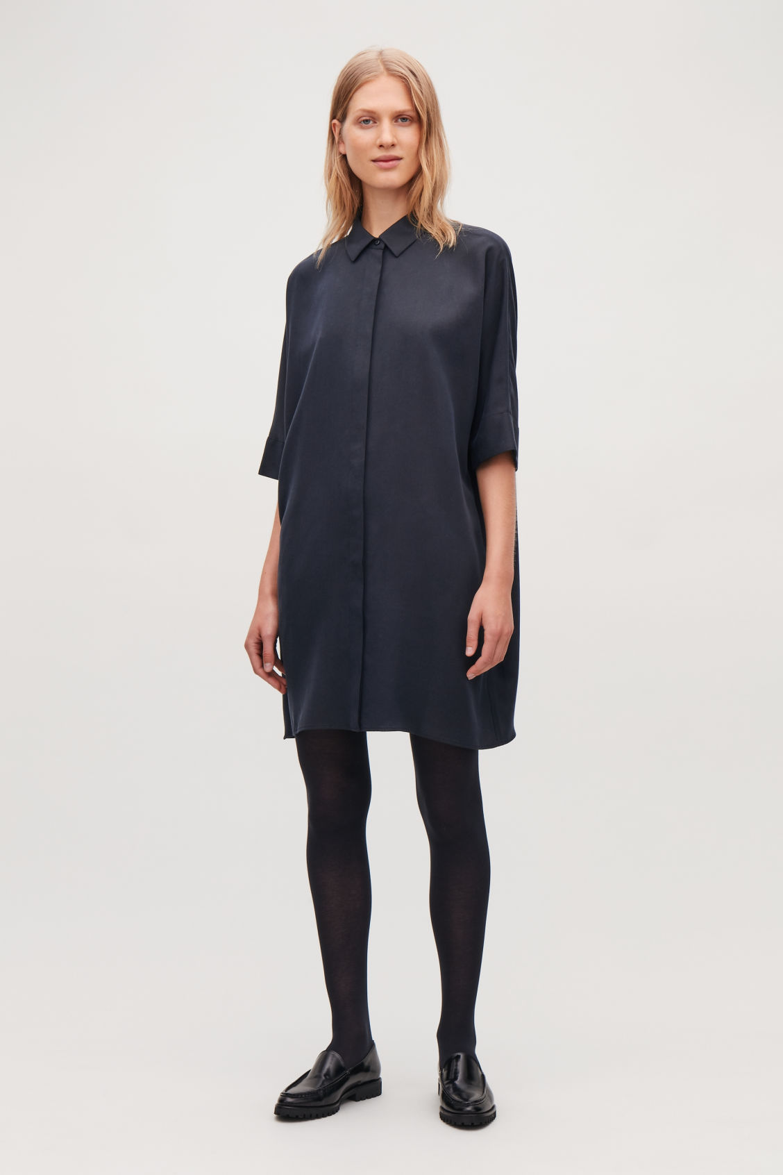 Model front image of Cos boxy shirt dress in blue