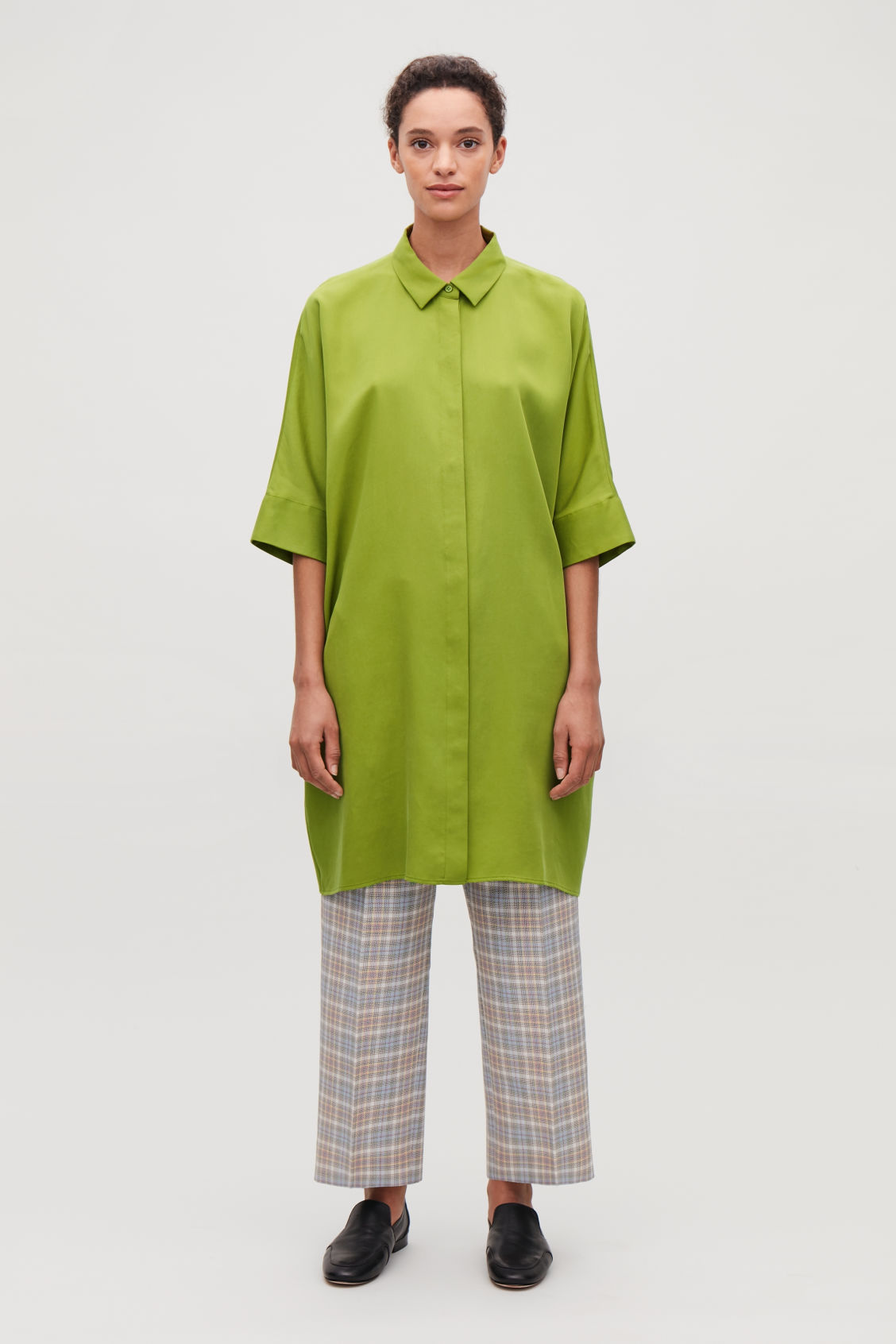 Model front image of Cos draped boxy shirt dress in green