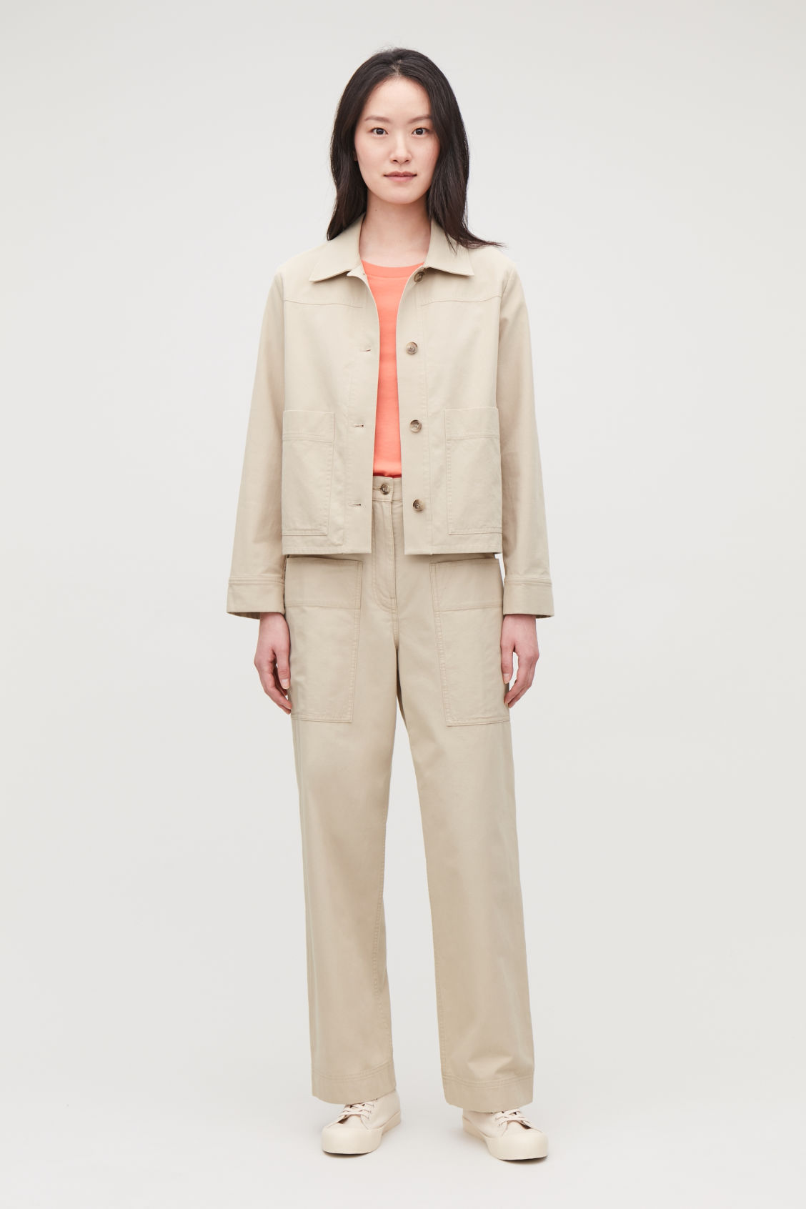 Model front image of Cos button-up canvas jacket in beige
