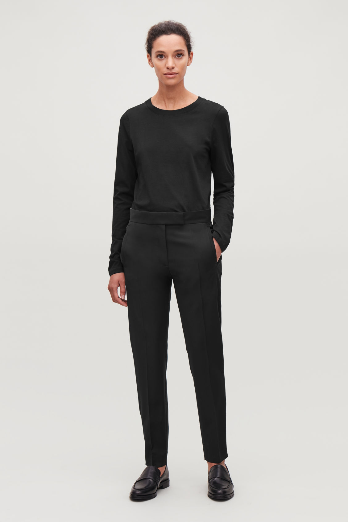 Model front image of Cos straight-hem long-sleeved top in black