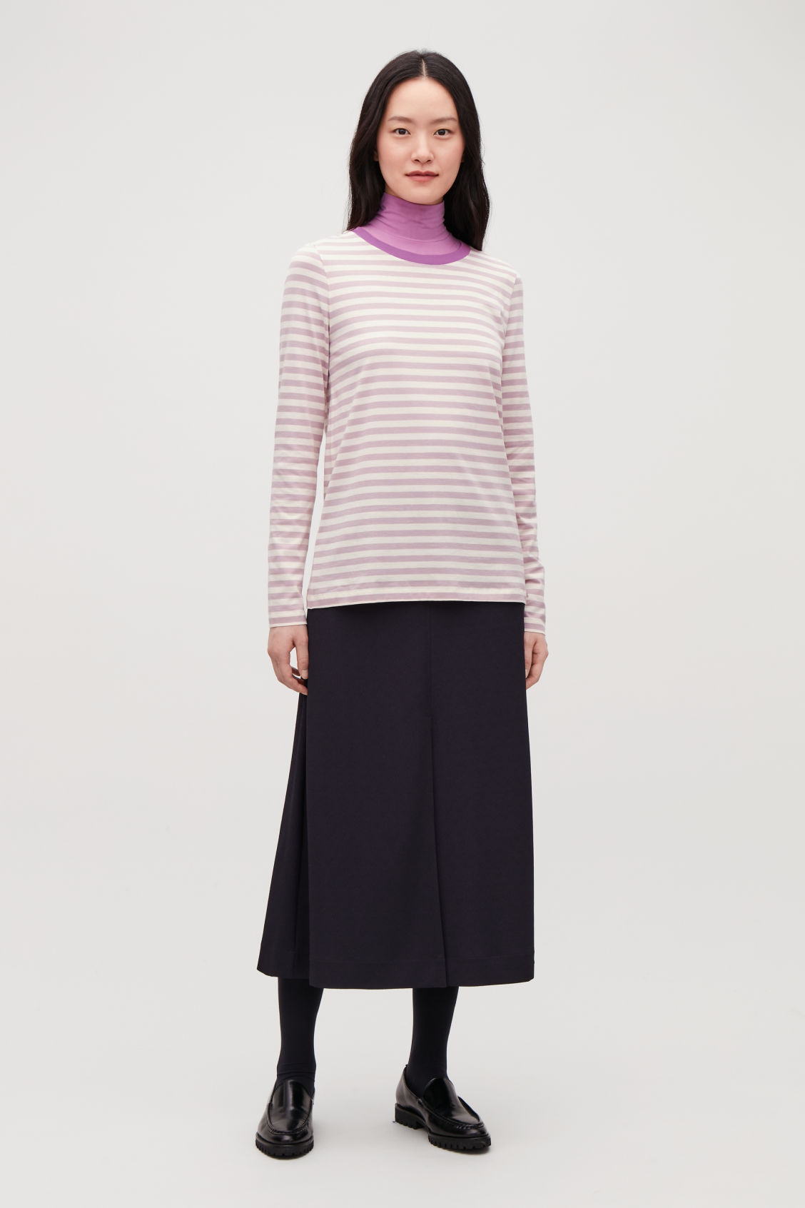 Model front image of Cos straight-hem long-sleeved top in pink
