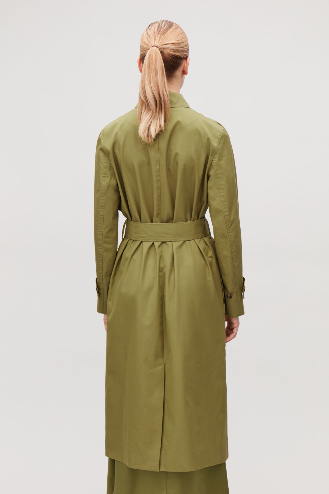 Model side image of Cos cotton-twill trench coat  in green