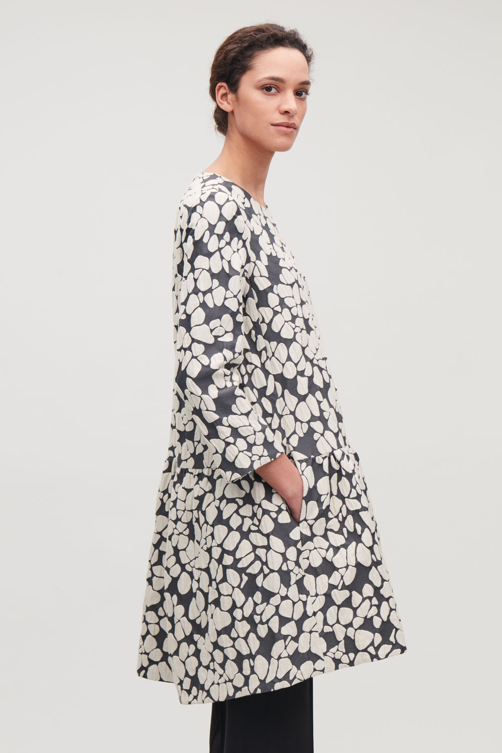 GATHERED JACQUARD A-LINE DRESS
