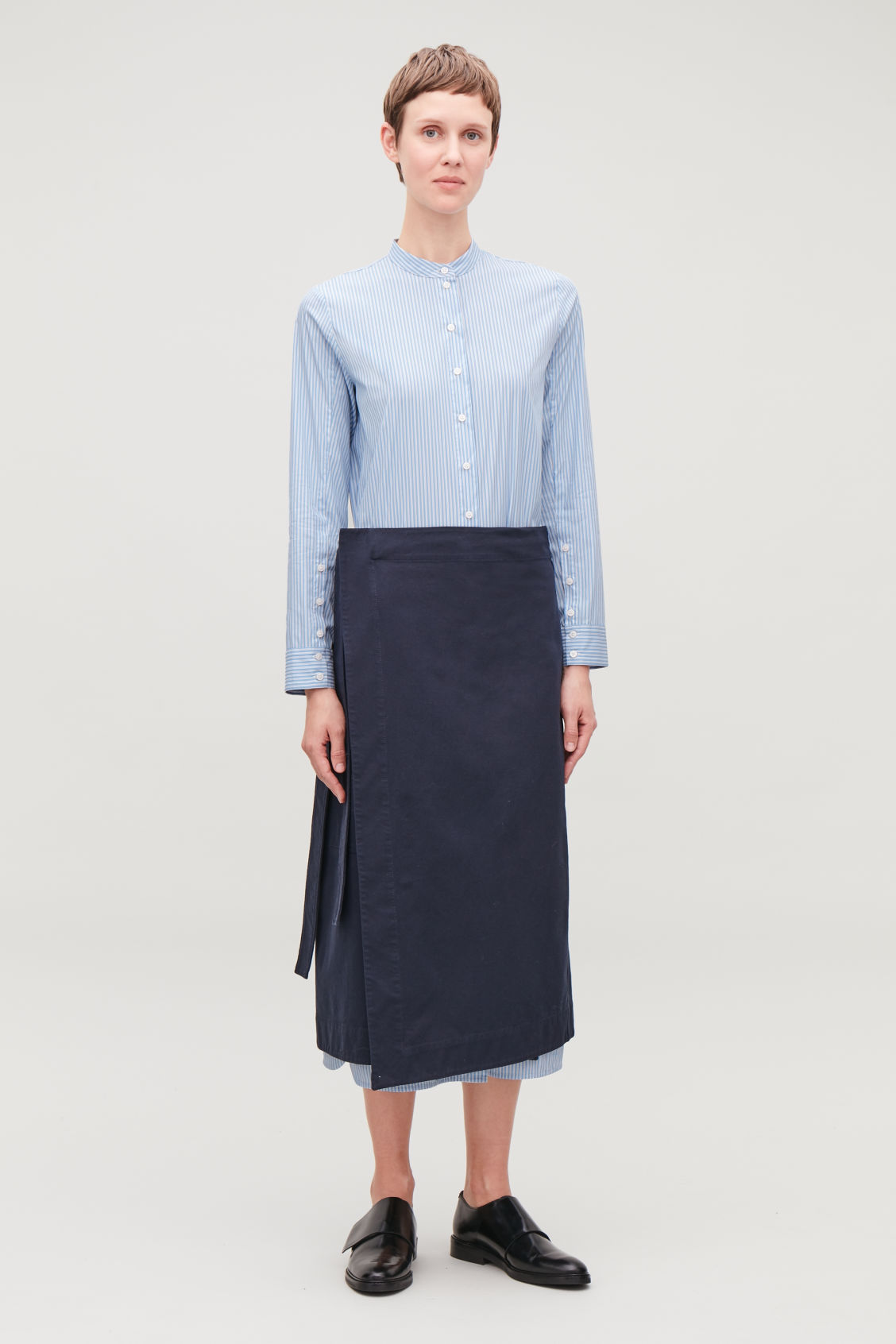 Model side image of Cos long striped cotton dress in blue