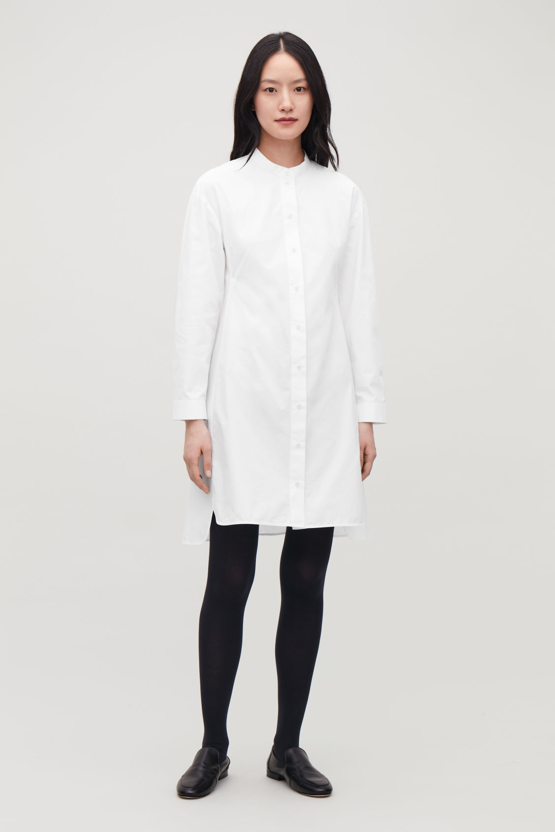 Model front image of Cos long tunic dress in white
