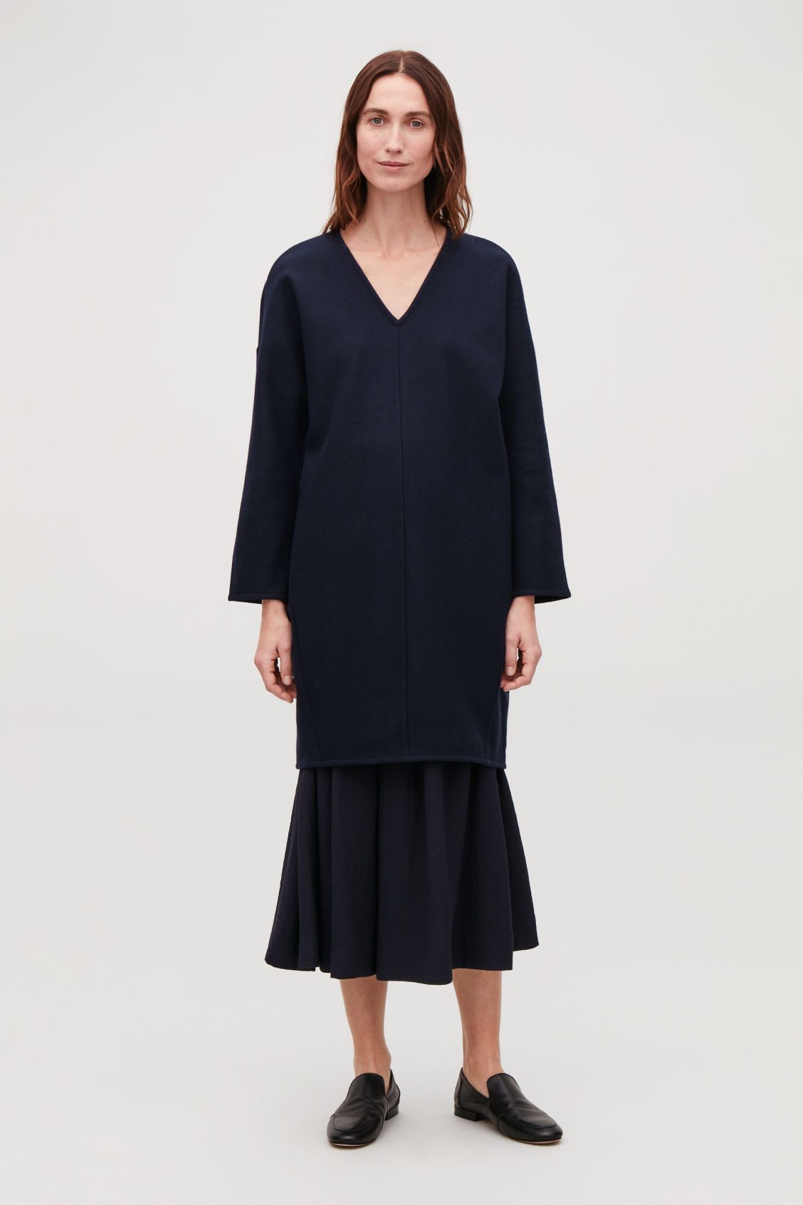 Model front image of Cos oversized wool v-neck dress in blue