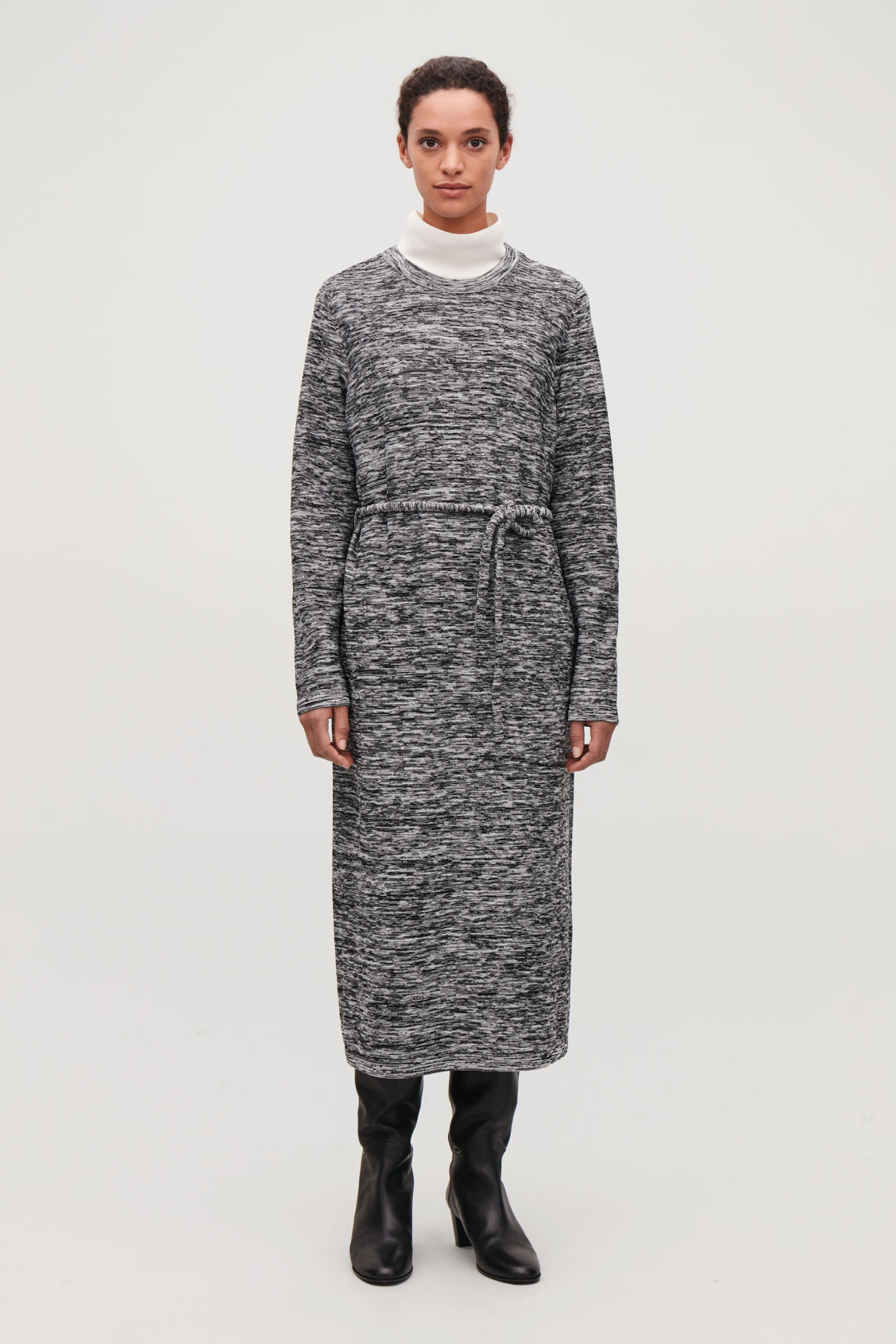Model front image of Cos long reverse-knit dress in black