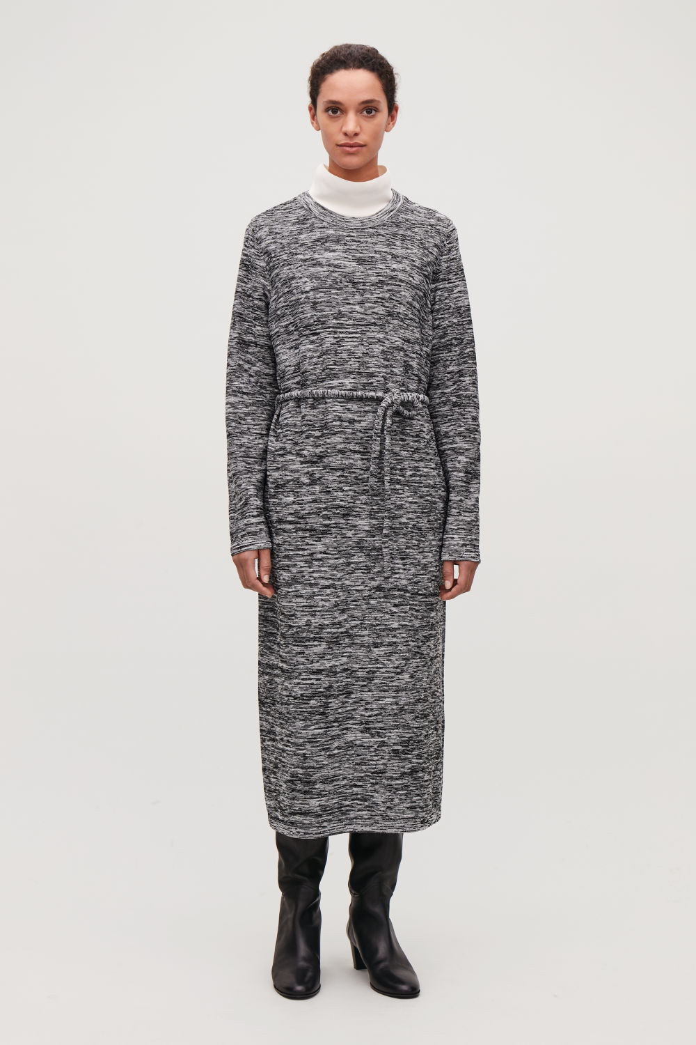 LONG REVERSE-KNIT DRESS