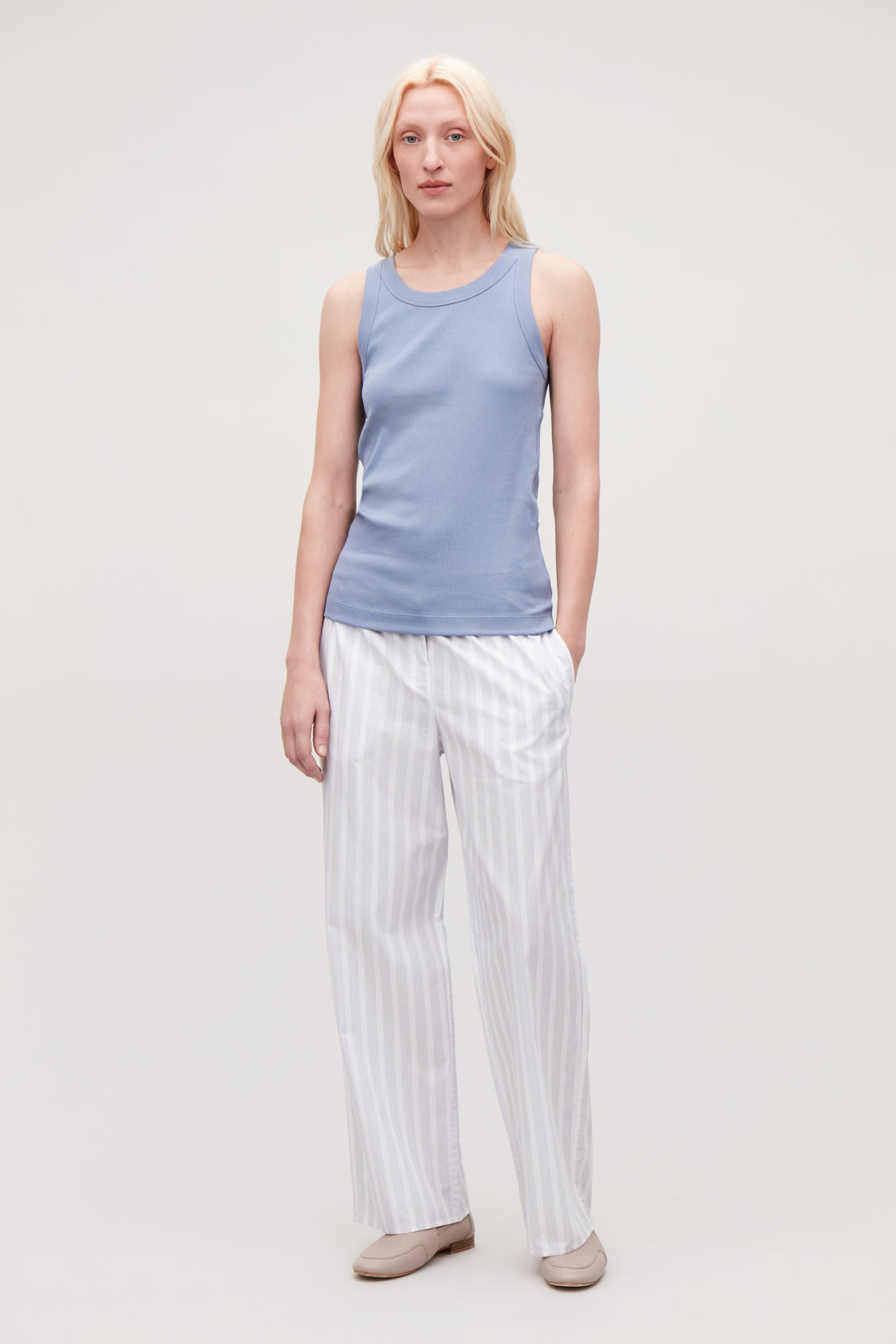 Model front image of Cos ribbed vest top in blue