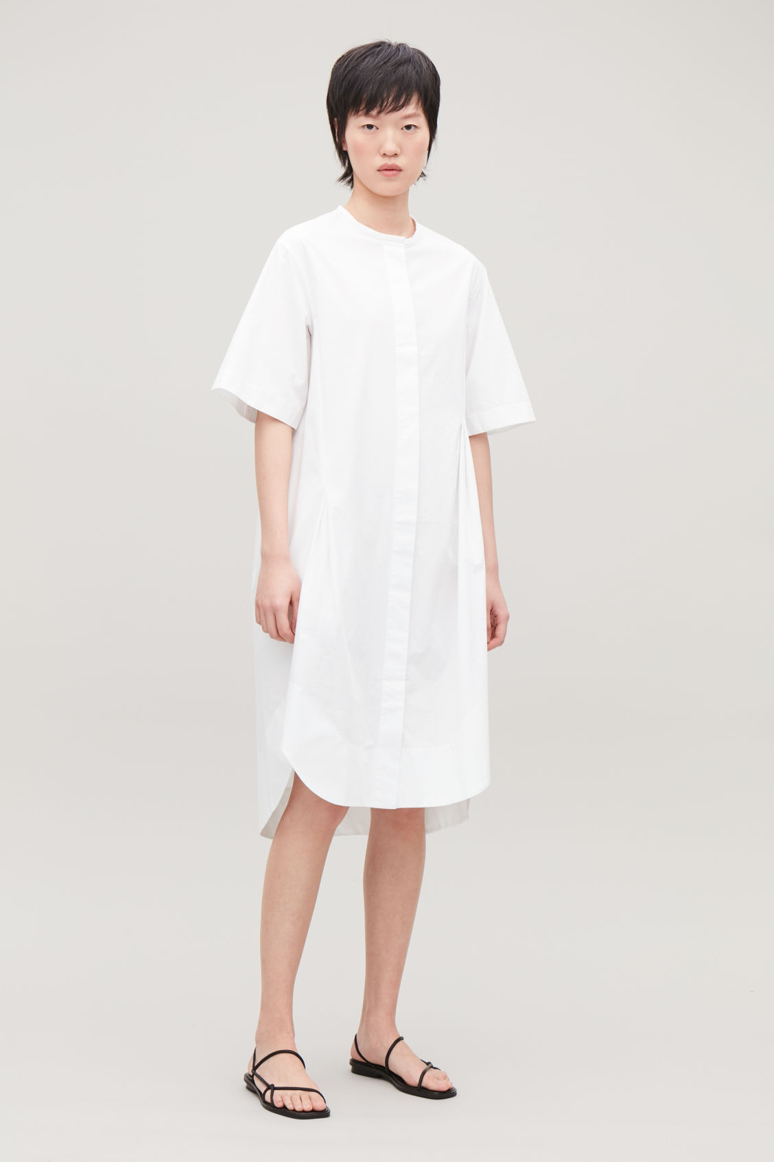 Model front image of Cos grandad shirt dress with darts in white
