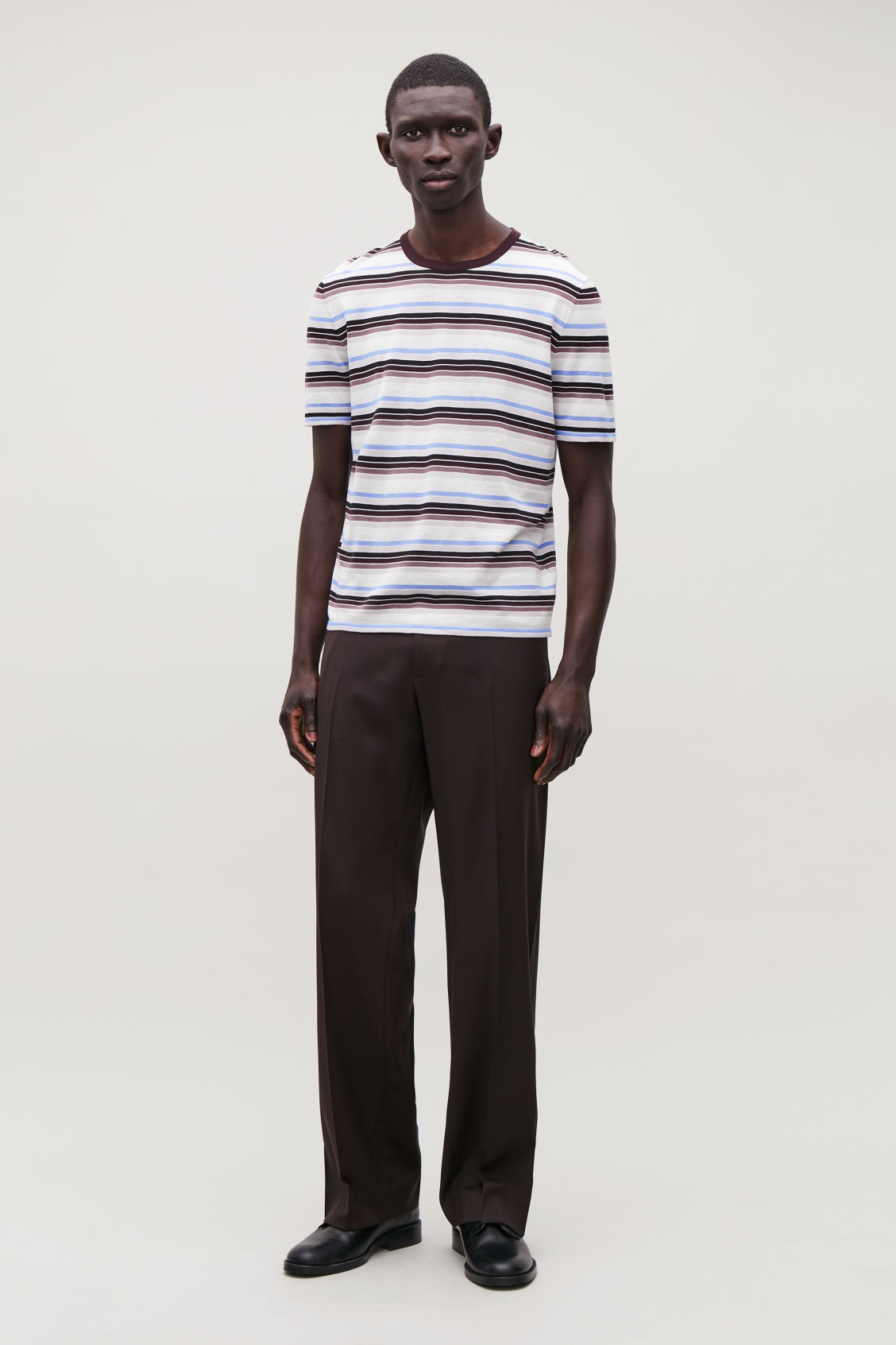 Model front image of Cos striped knit t-shirt in brown