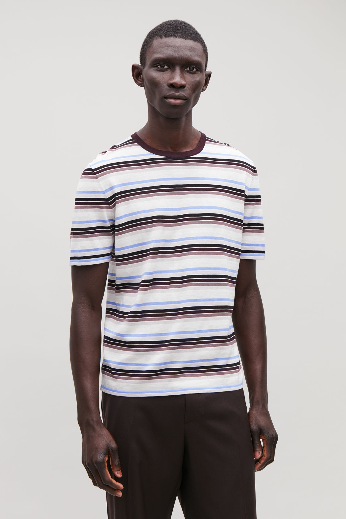 Model side image of Cos striped knit t-shirt in brown