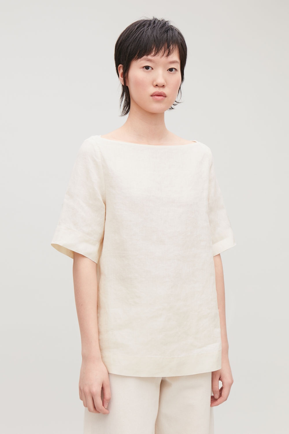 BOAT-NECK LINEN TOP ... 7d52a7757cef