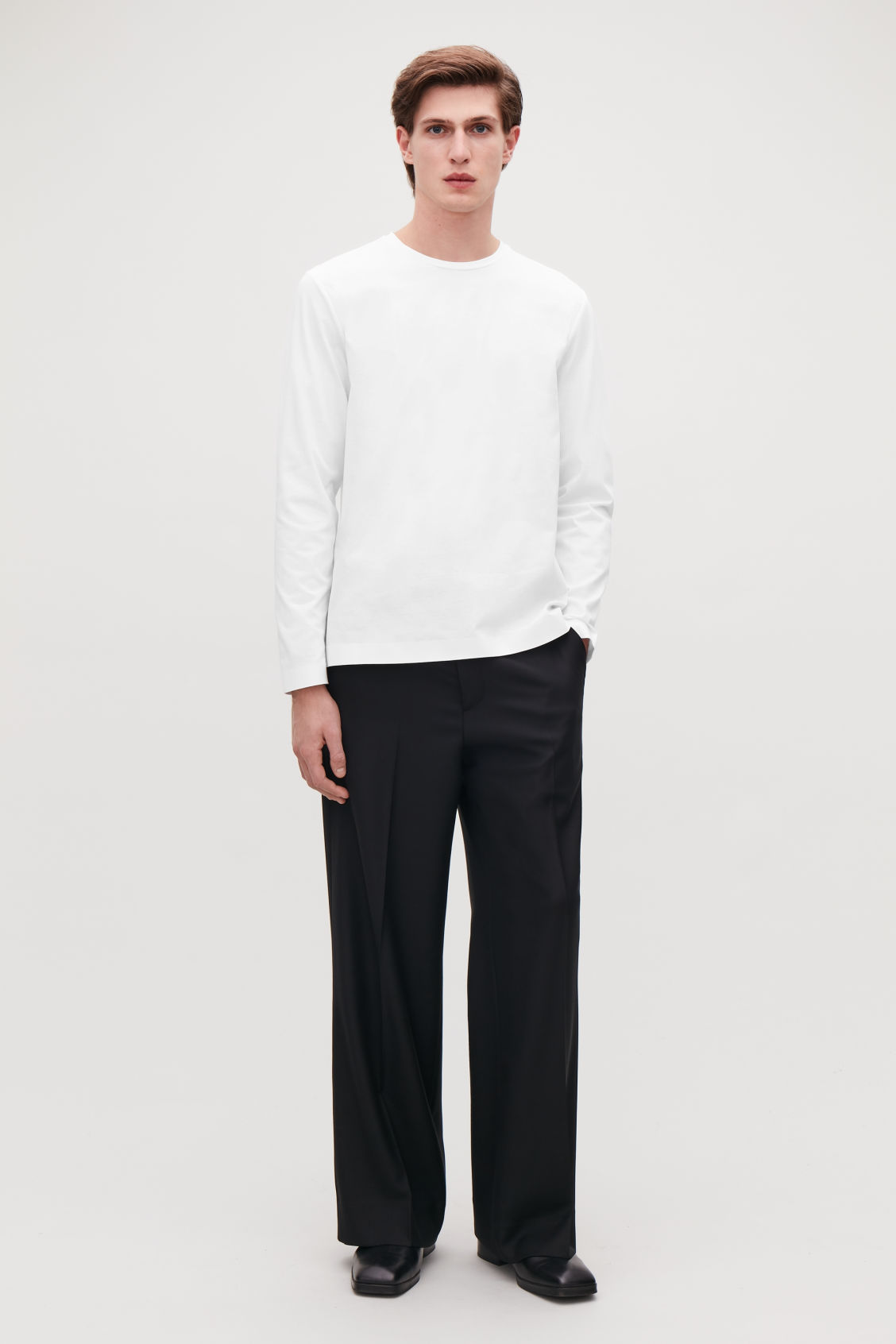 Model front image of Cos bonded long-sleeved top in white