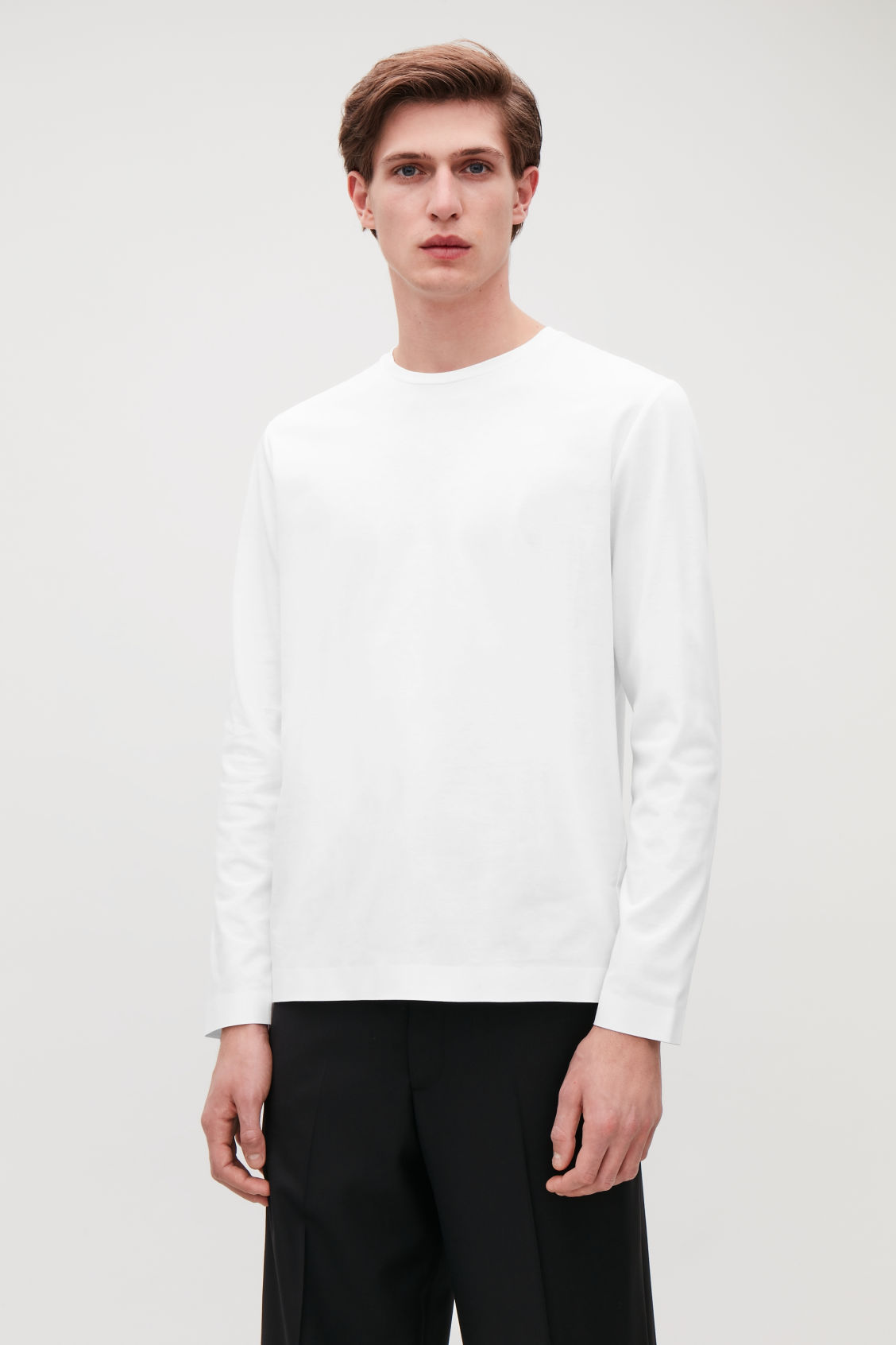 Model side image of Cos bonded long-sleeved top in white