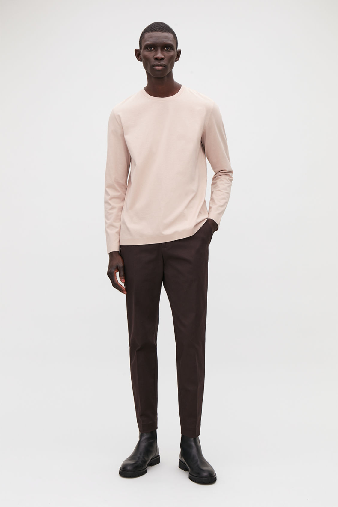 Model front image of Cos bonded long-sleeved top in brown