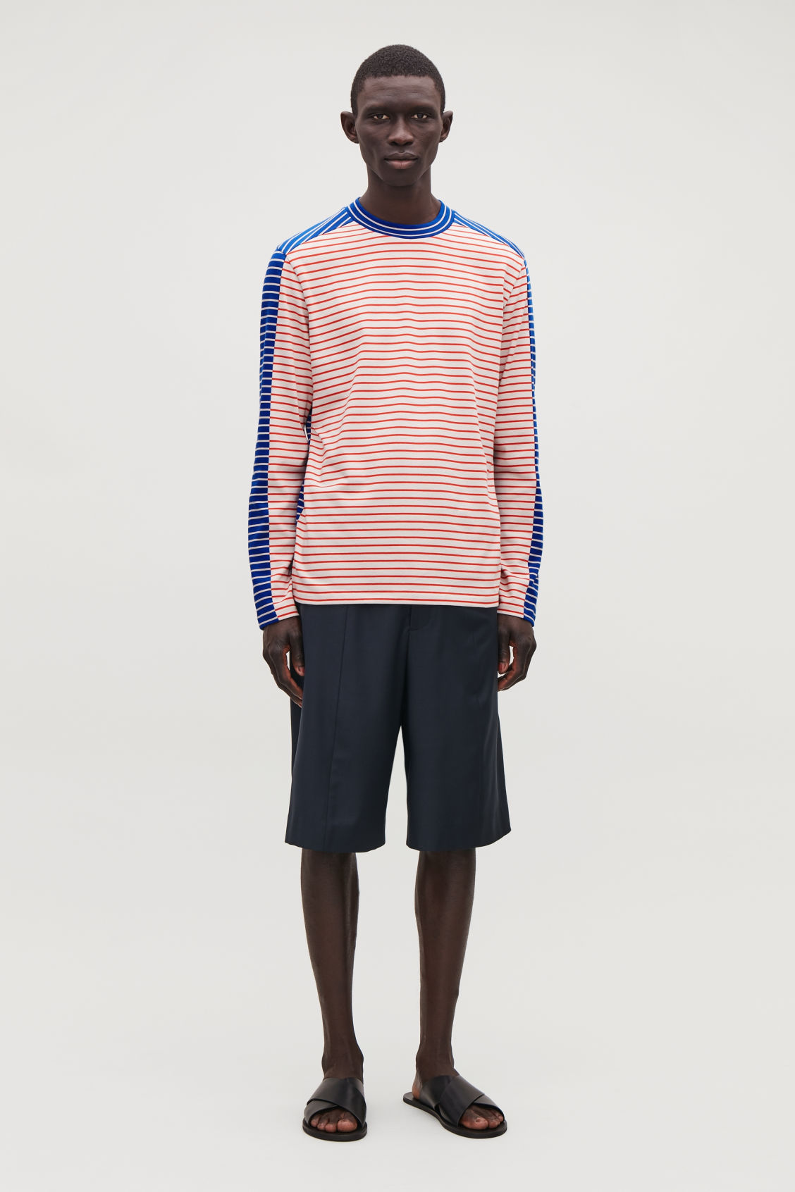 Model front image of Cos contrast stripe cotton top in blue