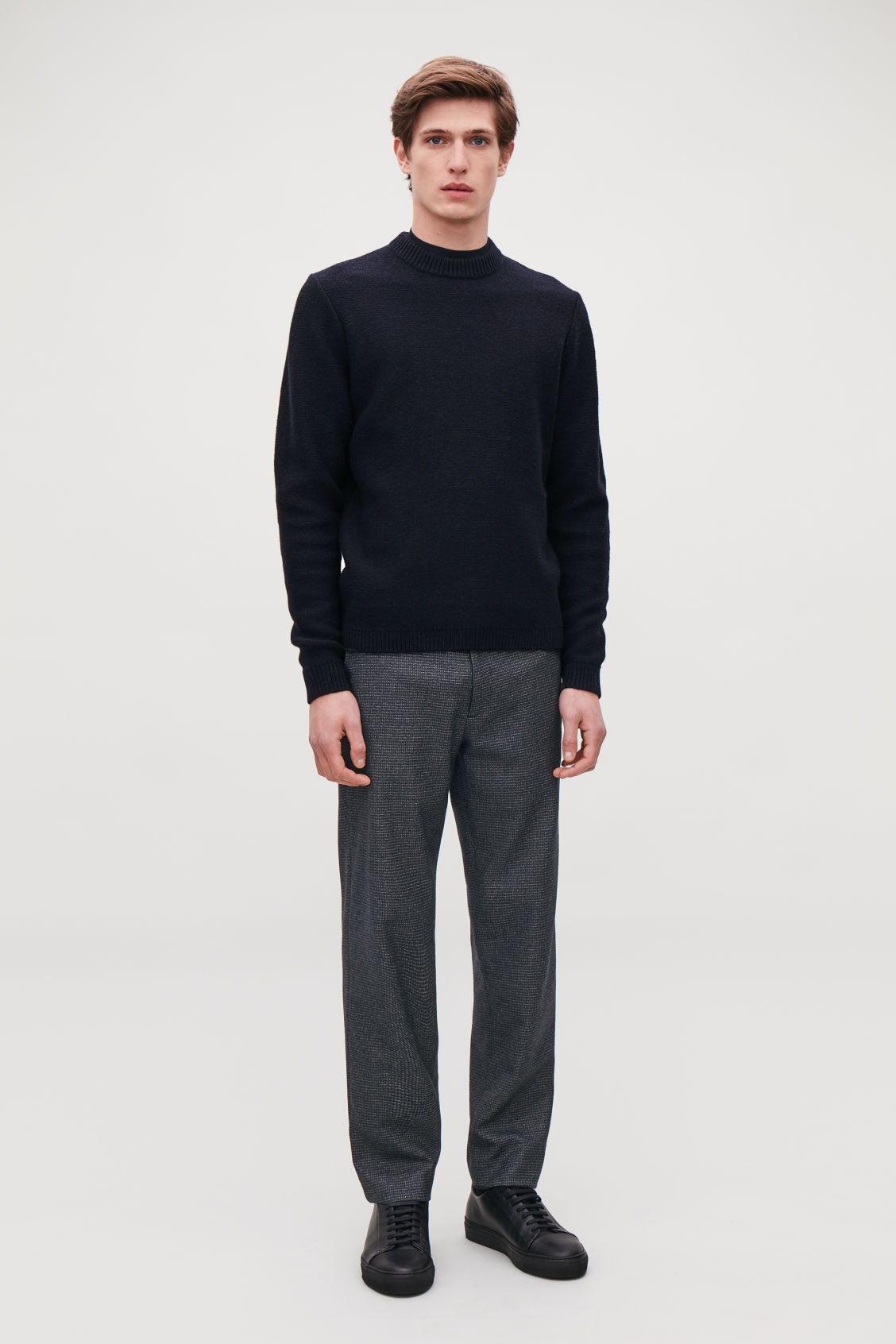 Model front image of Cos checked wool trousers in blue