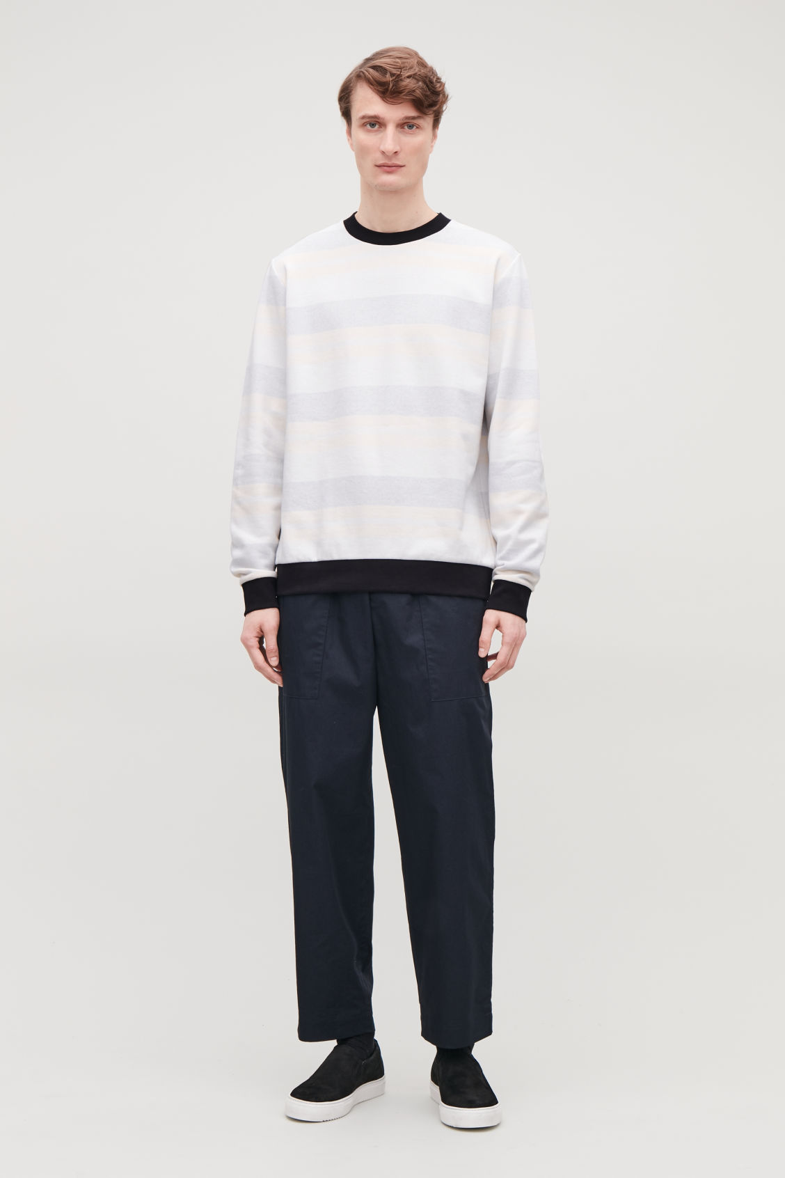 Model front image of Cos relaxed muted-stripe jumper in beige