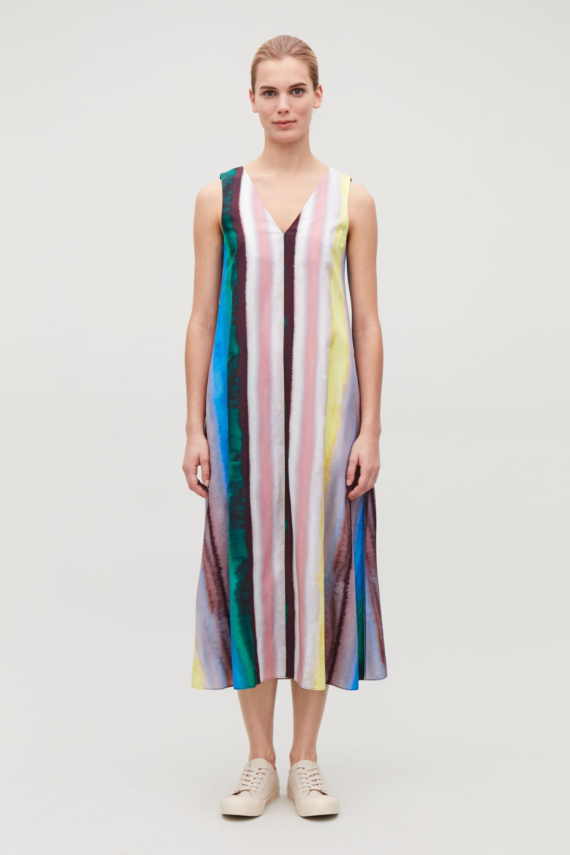 Model front image of Cos multicoloured sleeveless dress in green