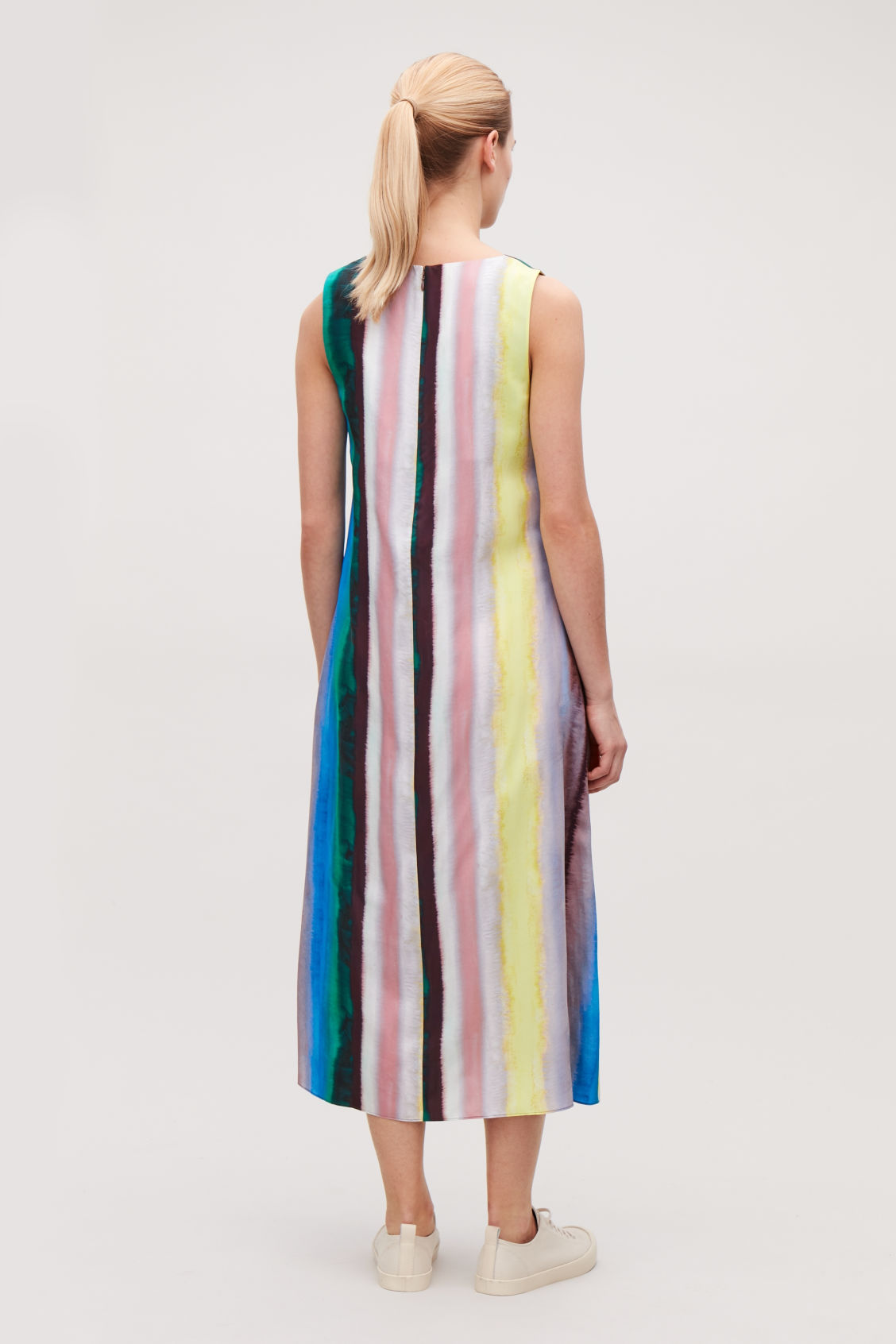 Model side image of Cos multicoloured sleeveless dress in green