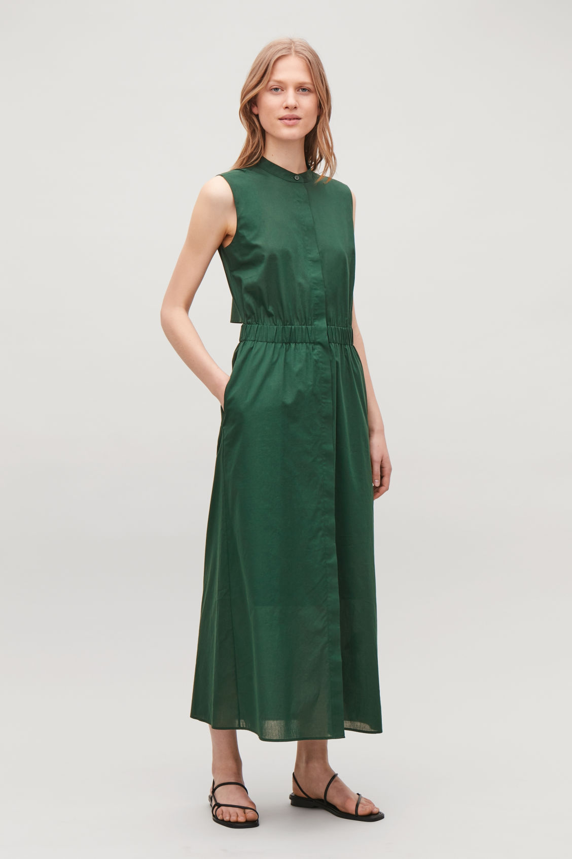 Model front image of Cos long open-back shirt dress in green
