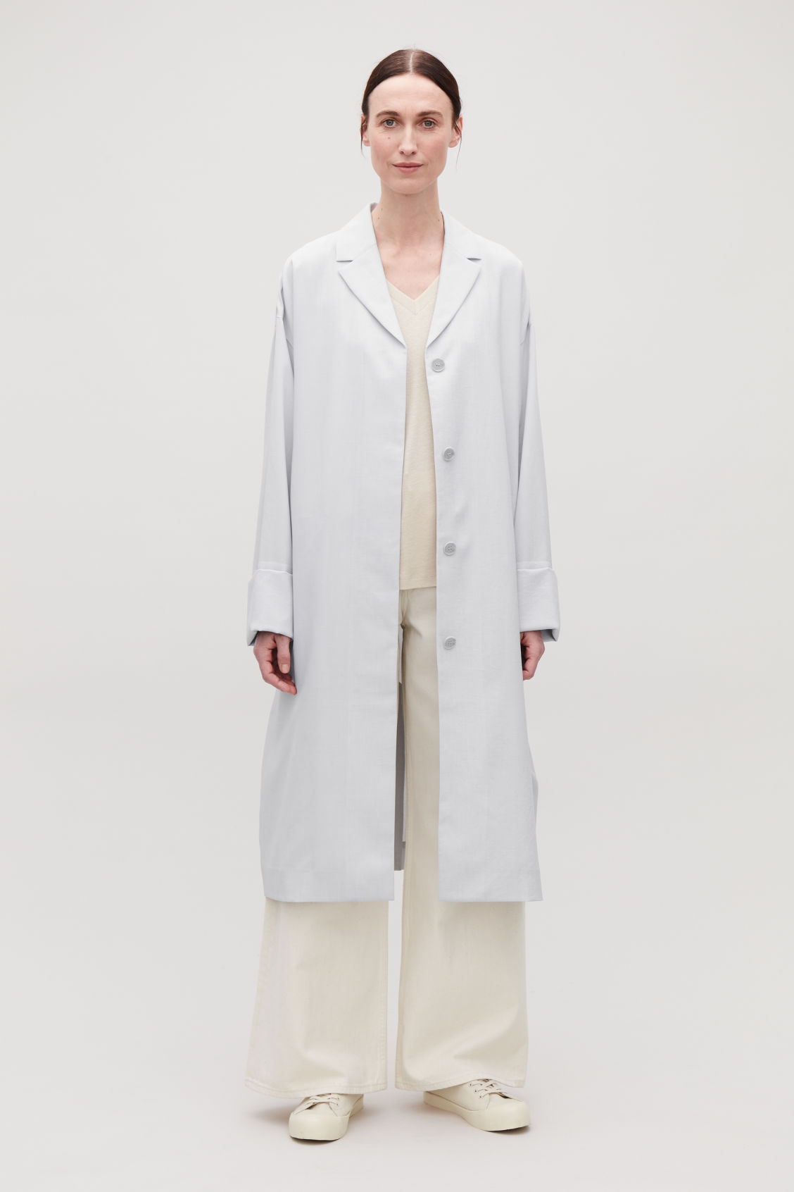 Model front image of Cos belted duster coat in grey