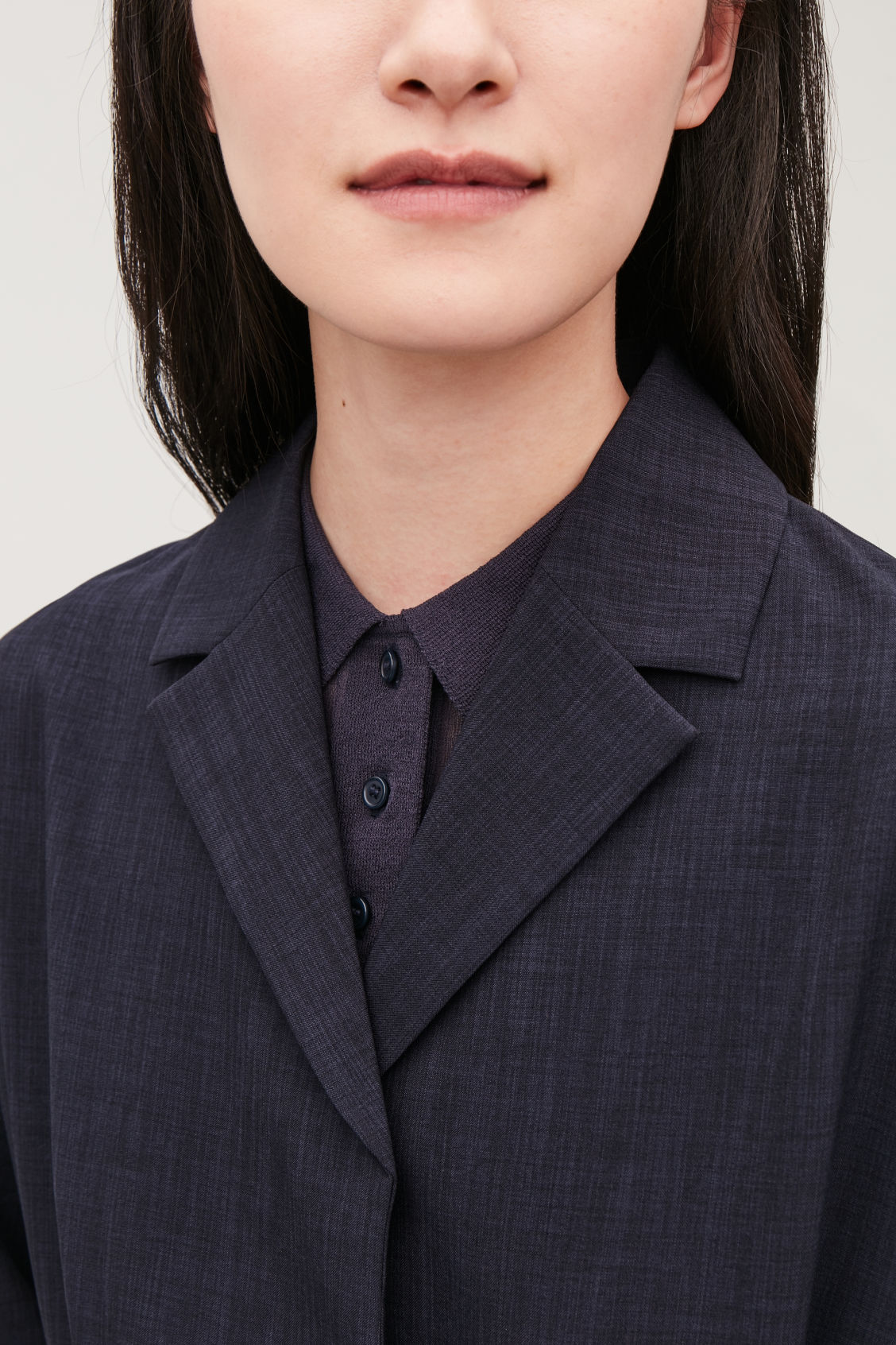 Model side image of Cos belted duster coat in blue