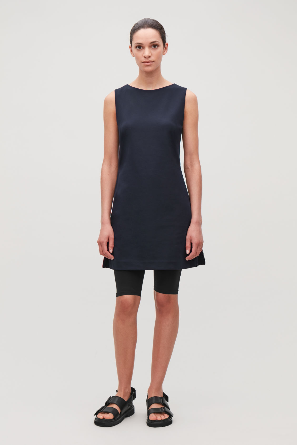 Model front image of Cos organic-cotton tunic dress in blue