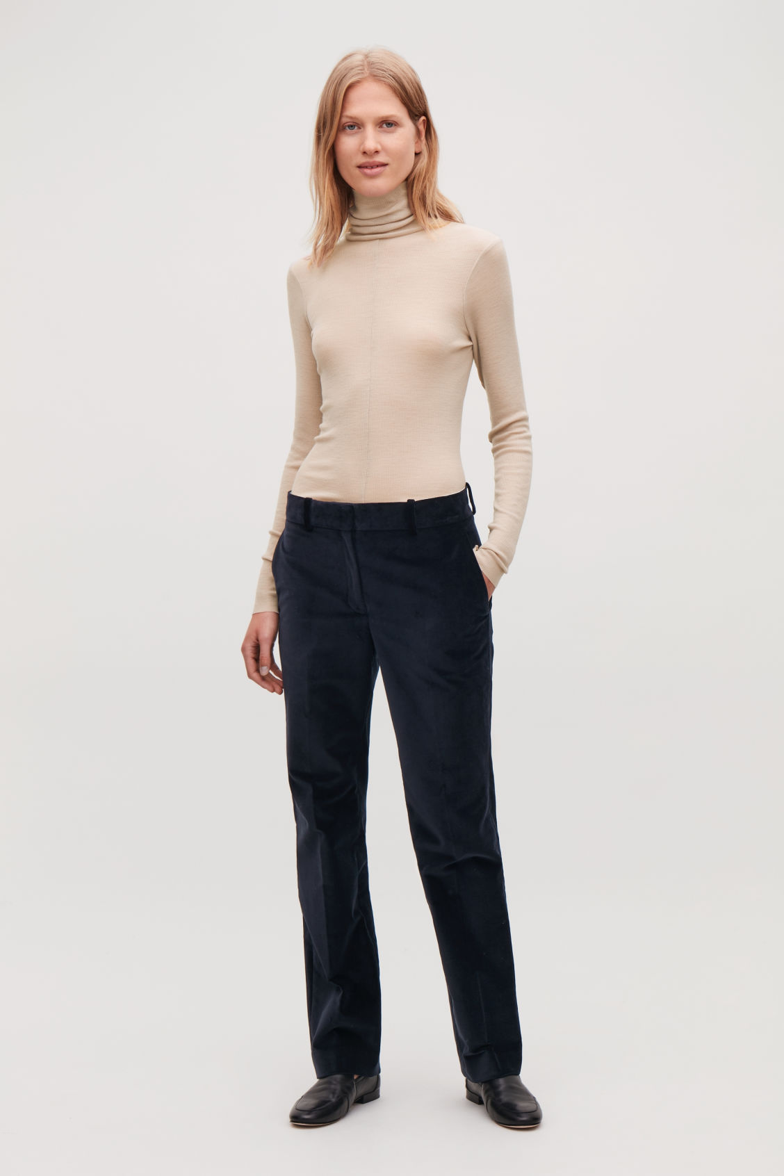 Model front image of Cos ribbed jersey high-neck top in pink