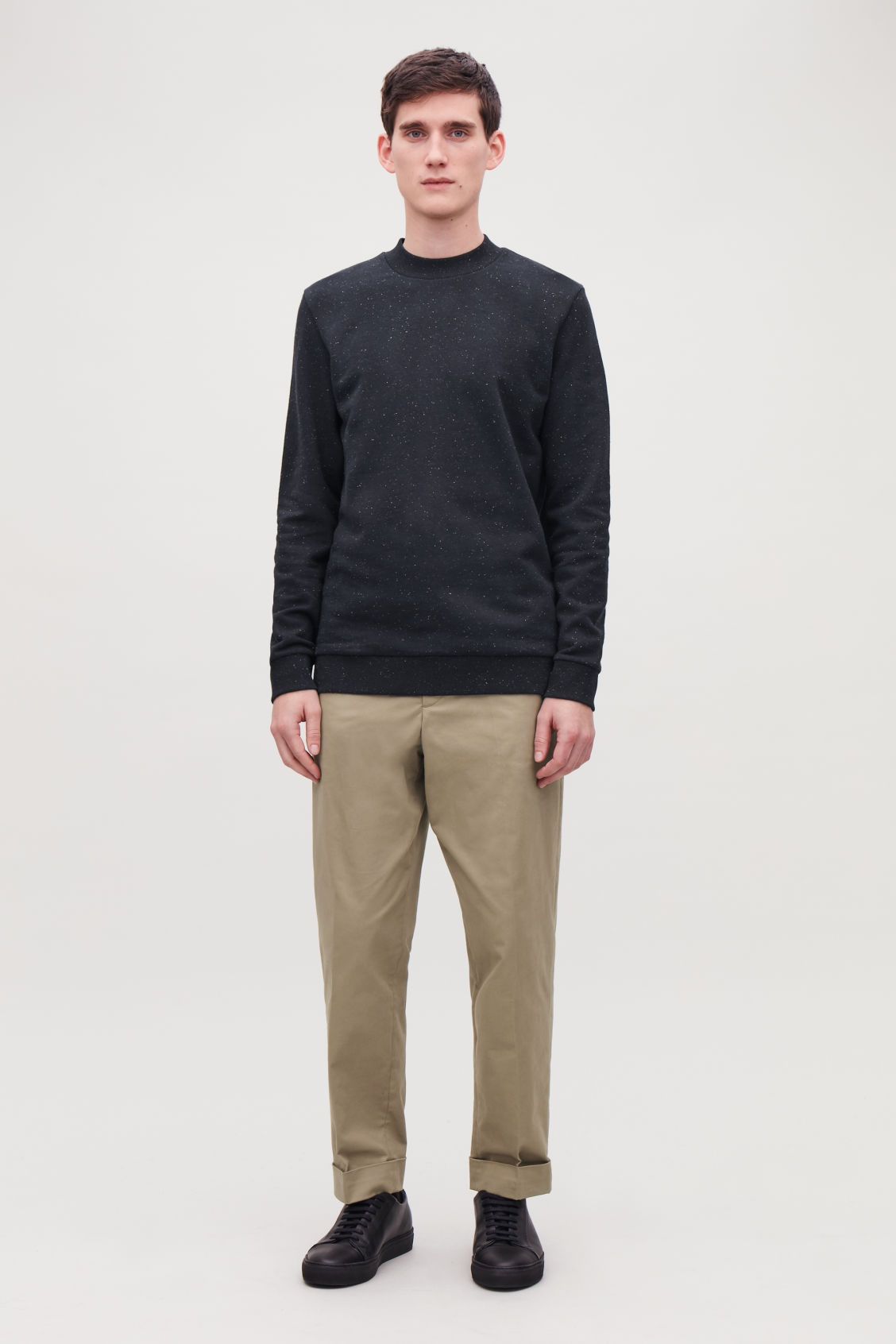 Model front image of Cos speckled jersey jumper  in blue