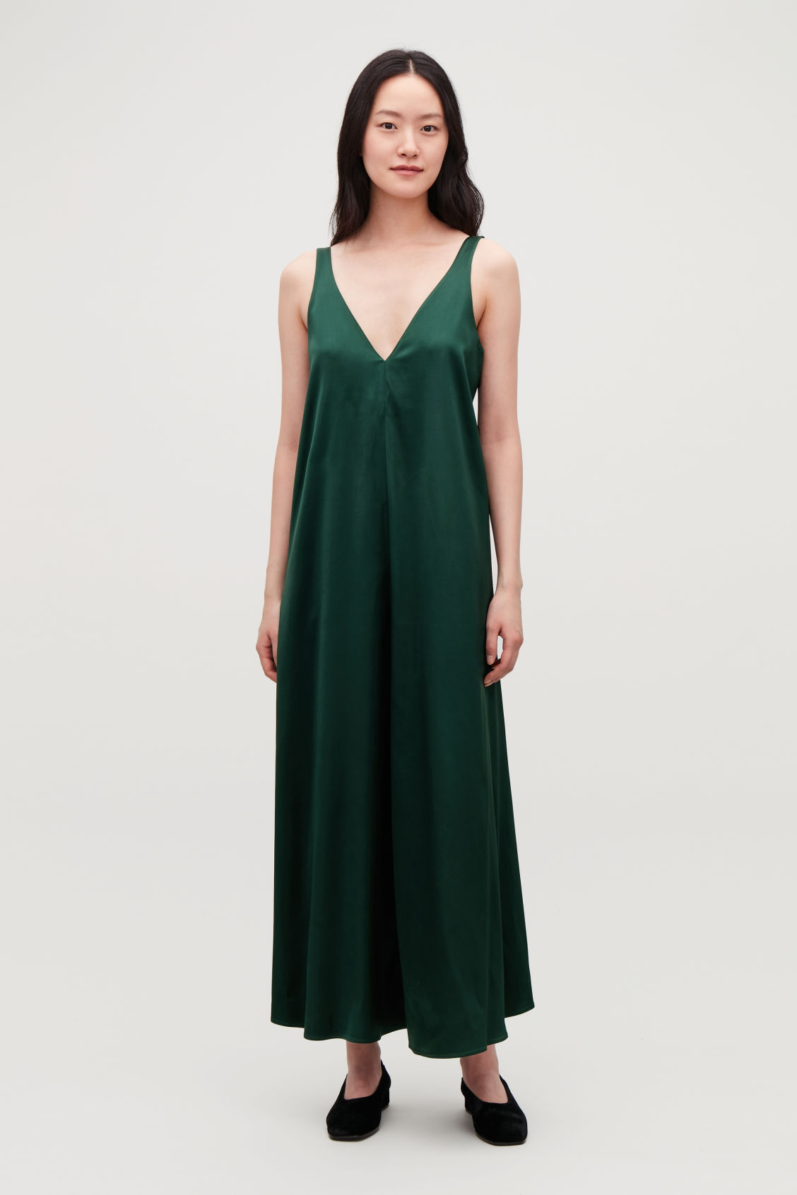 Model side image of Cos long satin dress in green