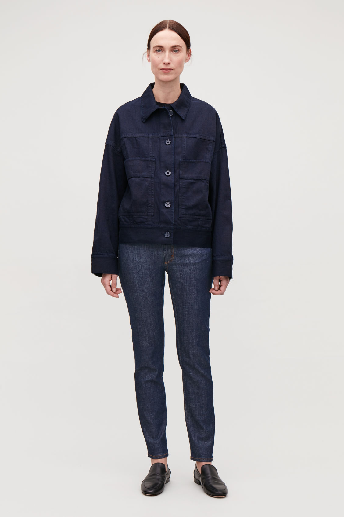 Model front image of Cos skinny-leg jeans in blue