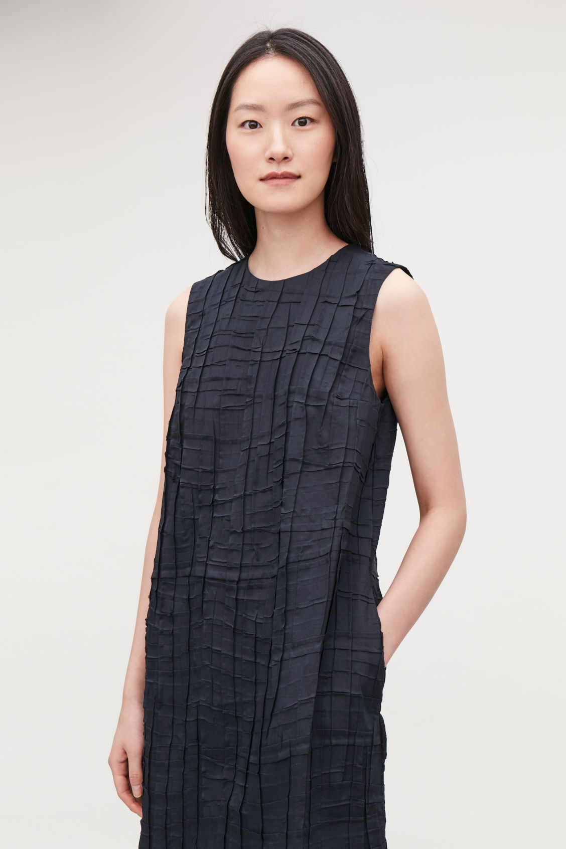 Model side image of Cos sleeveless pleated dress in blue