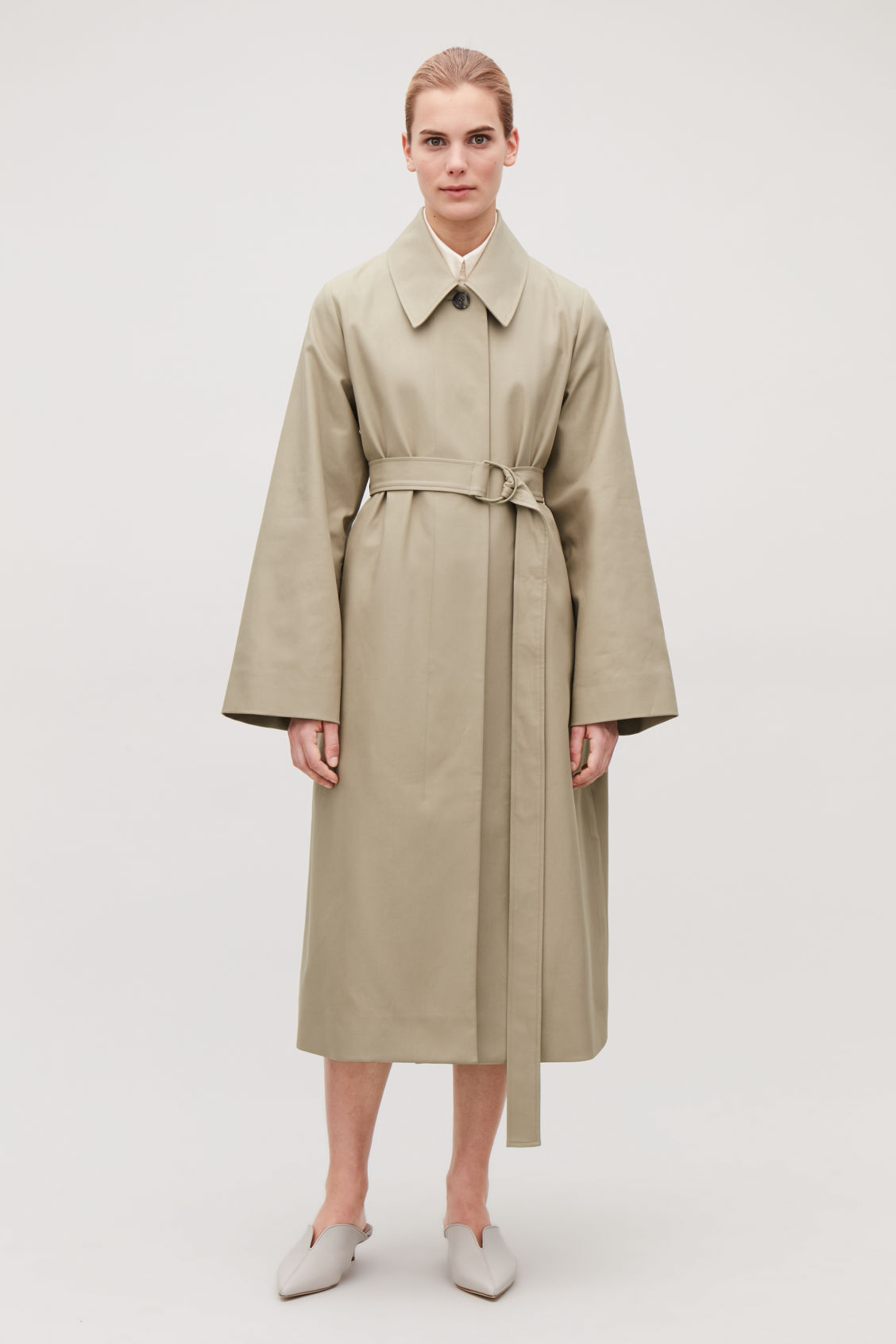 Model front image of Cos wide-sleeved trench coat  in beige
