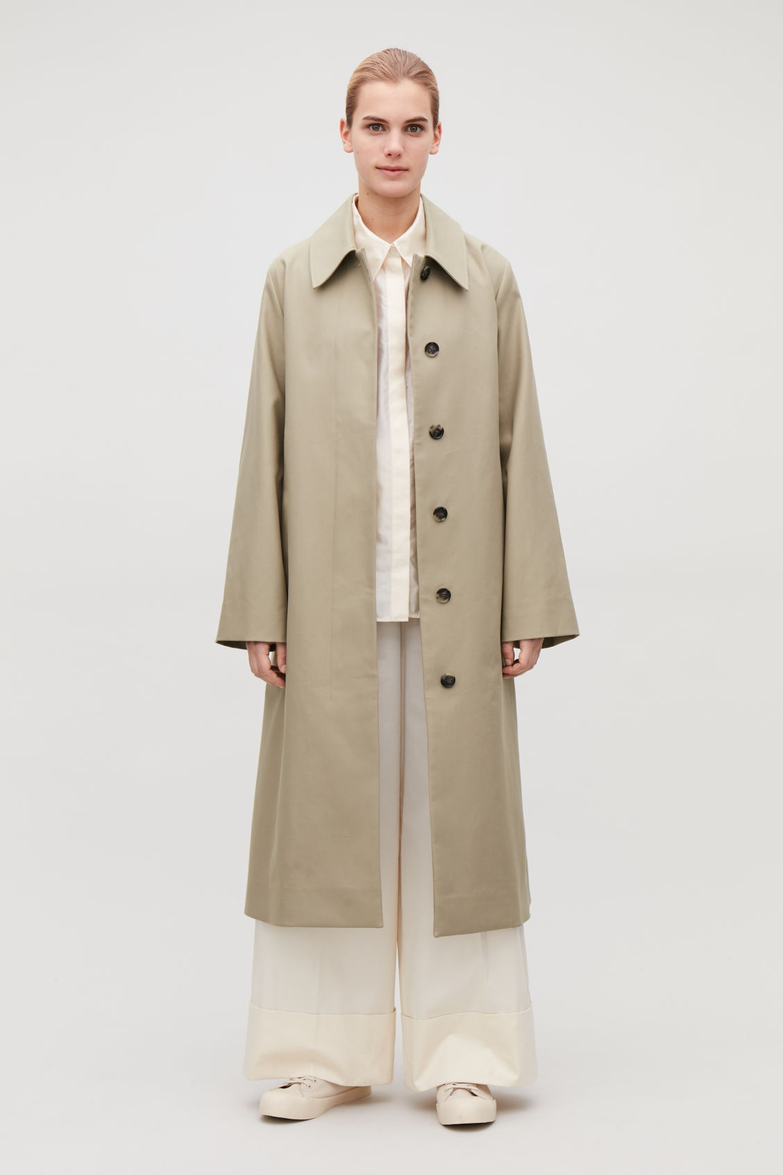 Model side image of Cos wide-sleeved trench coat  in beige