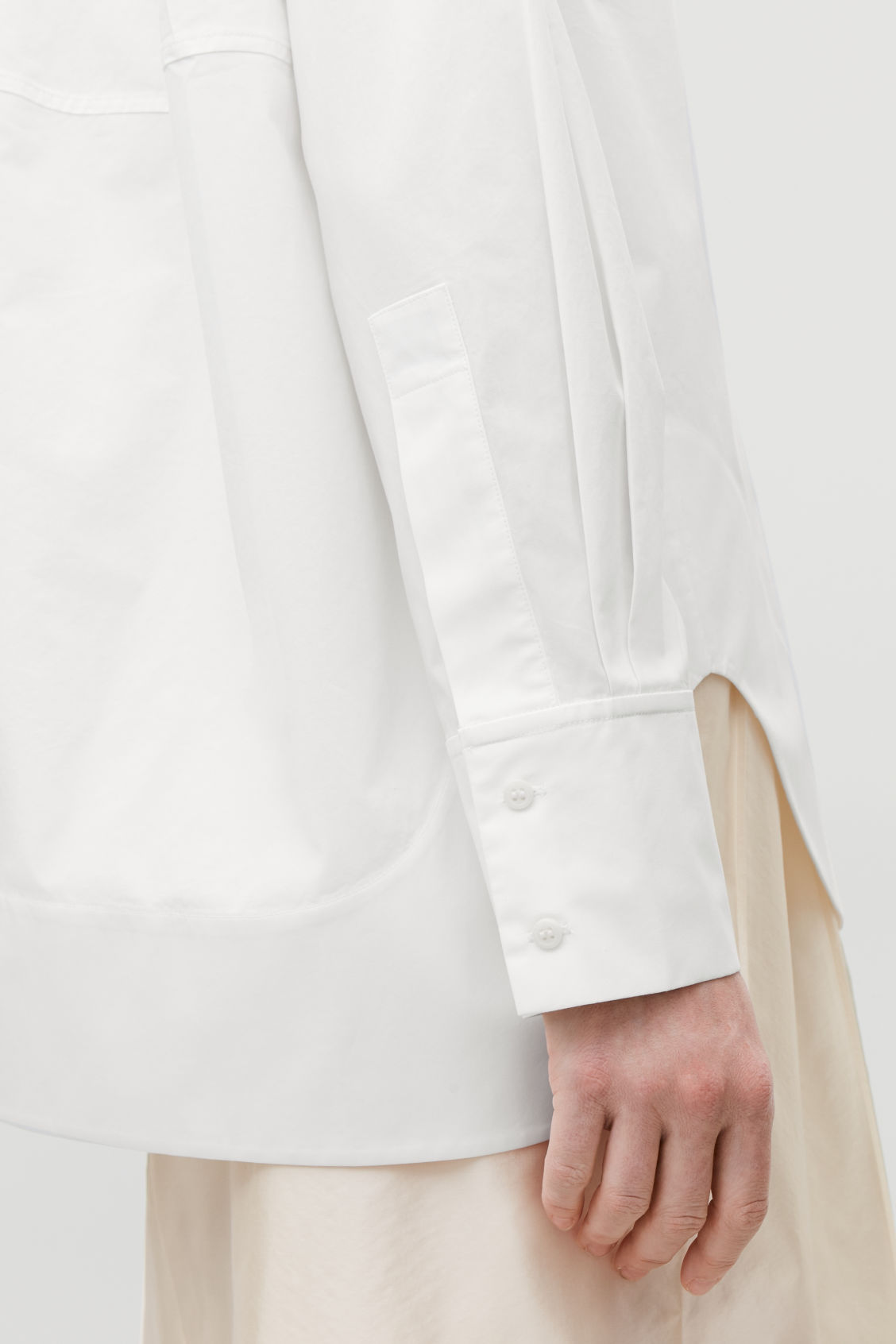 Model side image of Cos cocoon grandad-collared shirt in white