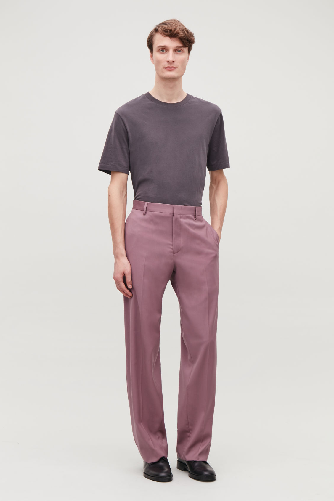 Model front image of Cos relaxed tailored trousers in purple