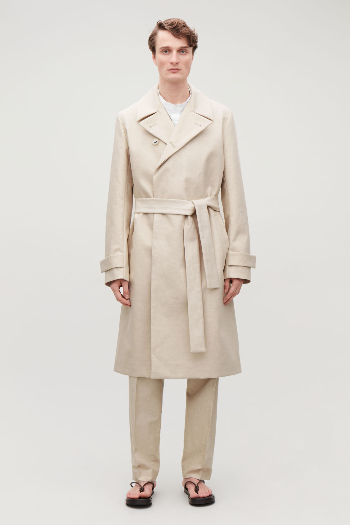Model front image of Cos bonded-linen trench coat  in cream