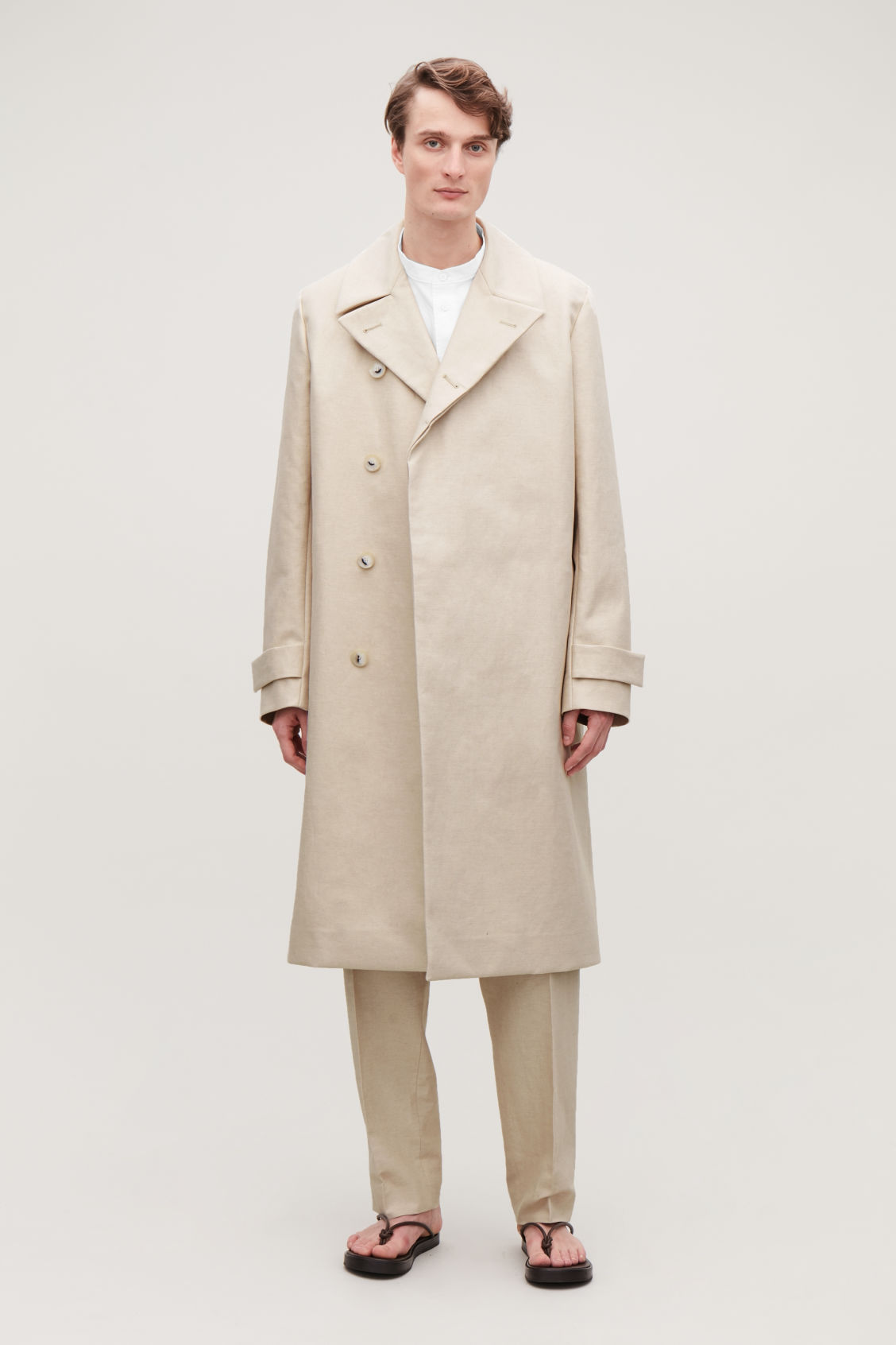 Model side image of Cos bonded-linen trench coat  in cream