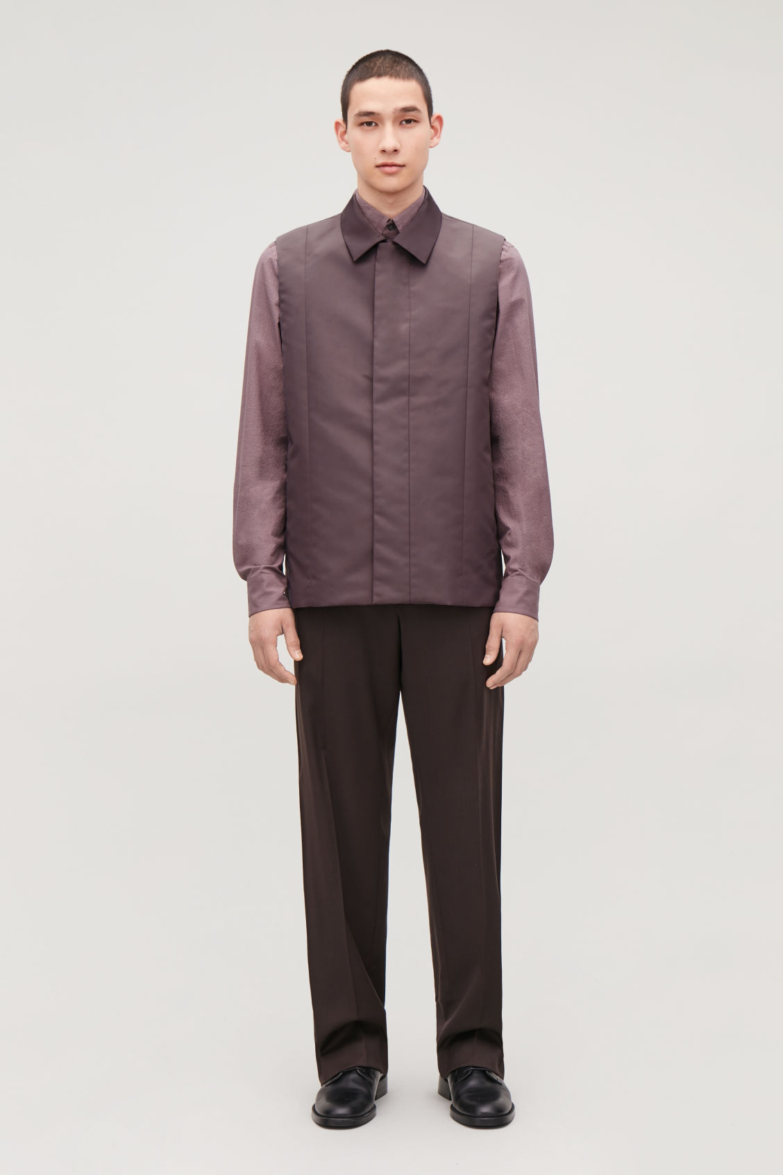 Model front image of Cos panelled sleeveless jacket in purple