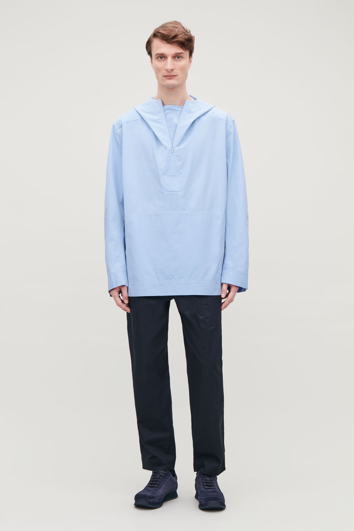Model front image of Cos lightweight pullover jacket  in blue